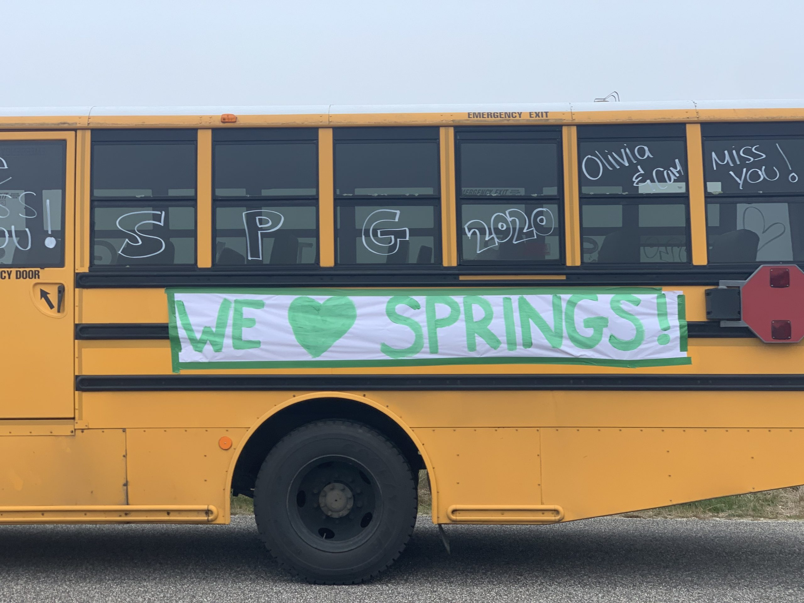 School buses and teacher's vehciles were adorned with messages of school spirit during Friday's Spirit Drive around Springs.