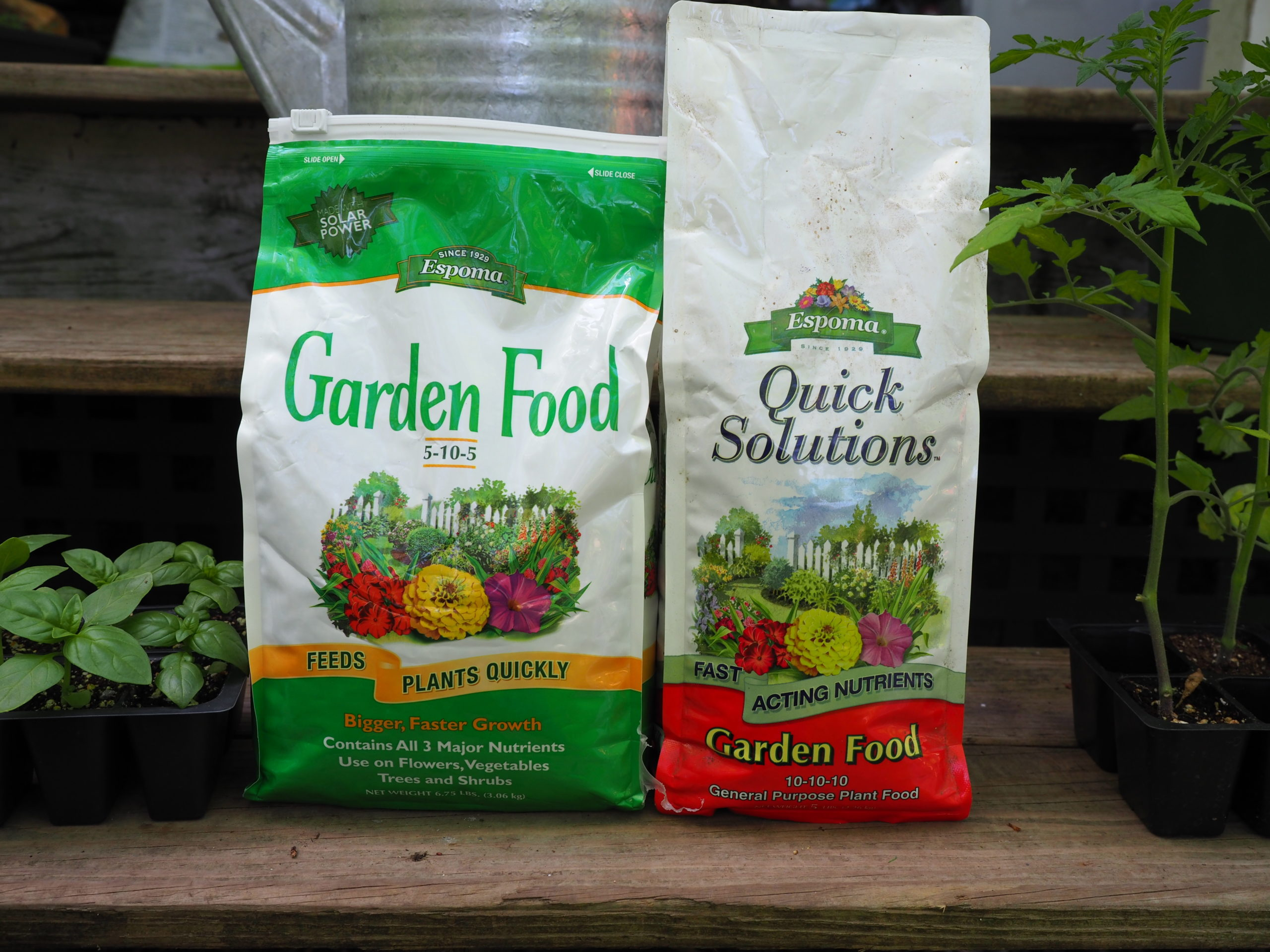 """Beware of your brands. Most gardeners equate the Espoma brand with organics, but here are two of their products that are chemical and not organic fertilizers. The directions caution """"when used with care, it is an excellent general purpose plant food."""" On the left is a chemical based 5-10-5 with its 10-10-10 counterpart on the right."""