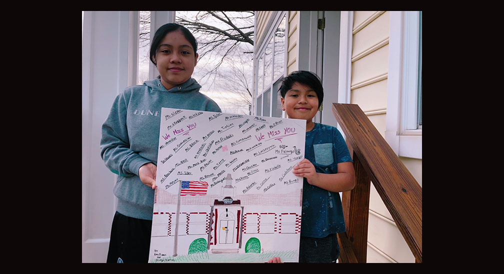 Tuckahoe School sixth grade student Amy Ramos and her brother, third  grader, Diego Ramos with their distance learning artwork project.  COURTESY TUCKAHOE SCHOOL
