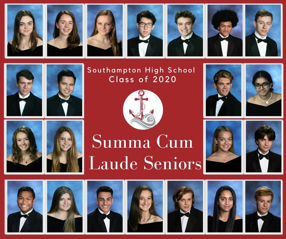 Southampton High School seniors who have achieved summa cum laude status