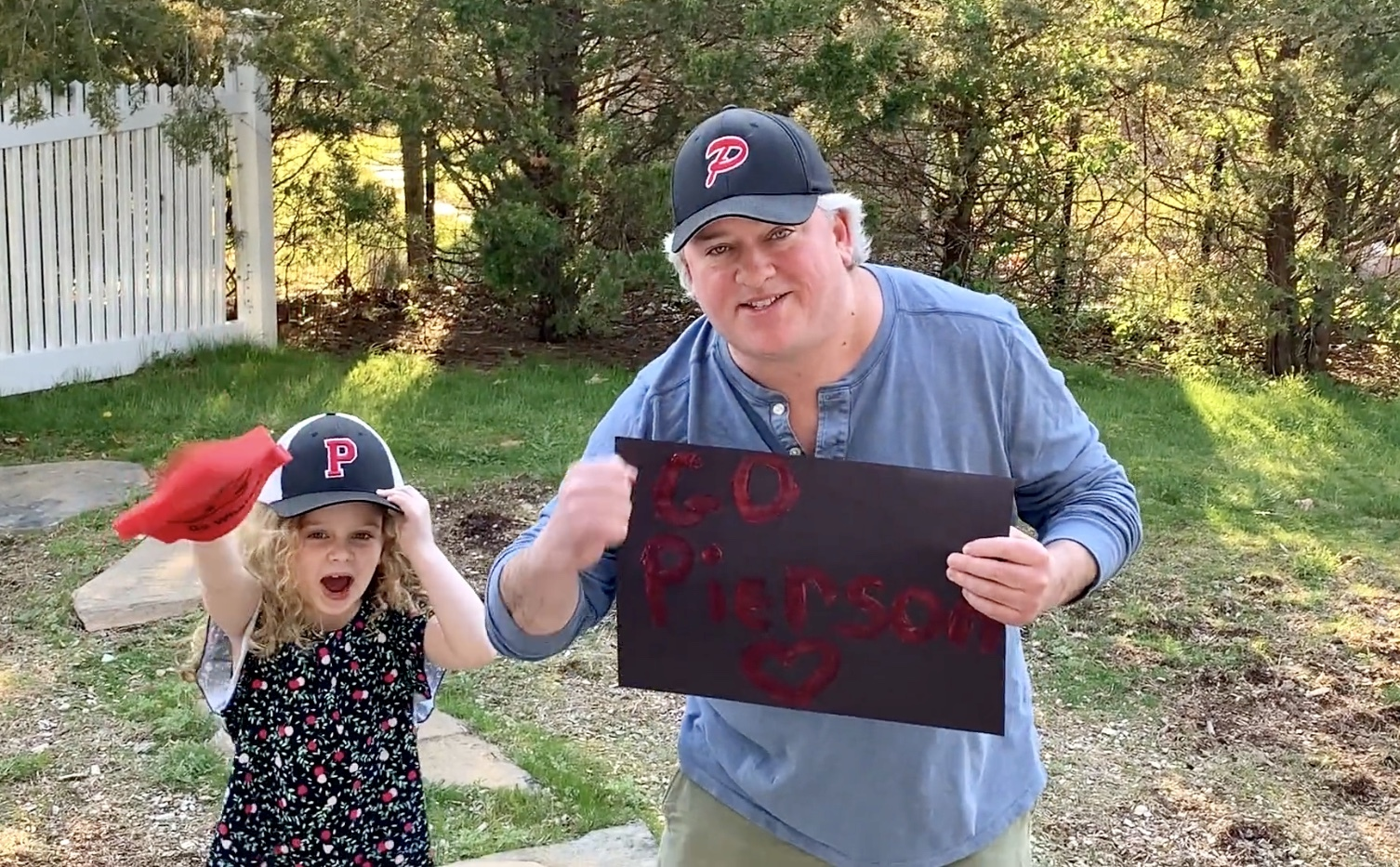 Michael Guinan, Pierson High School assistant principal, got a little help from his daughter to tell students how much they are missed.