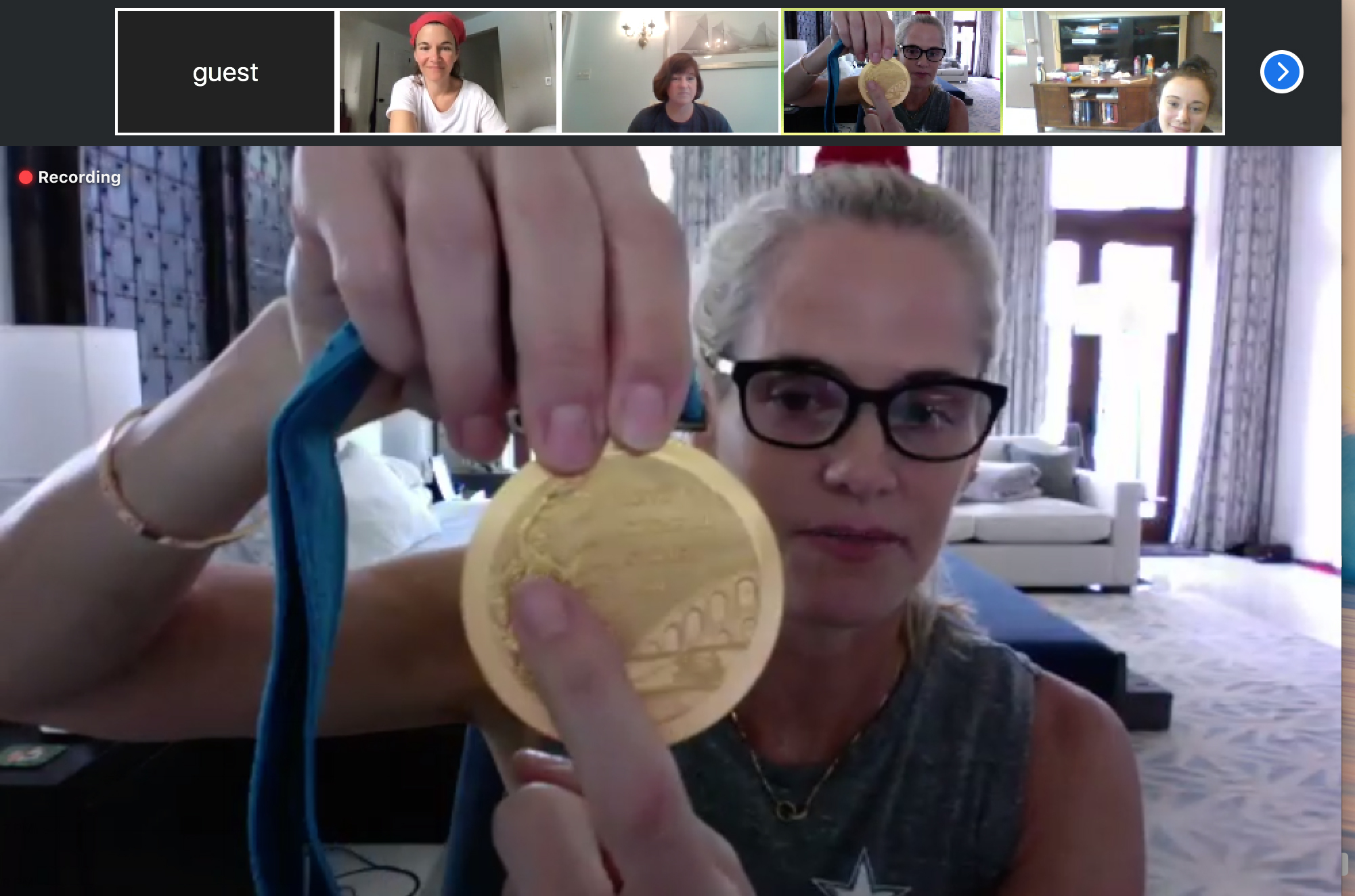Olympian Dara Torres attends an i-tri meeting via Zoom on Saturday to encourage the participants in this year's virtual triathathon.