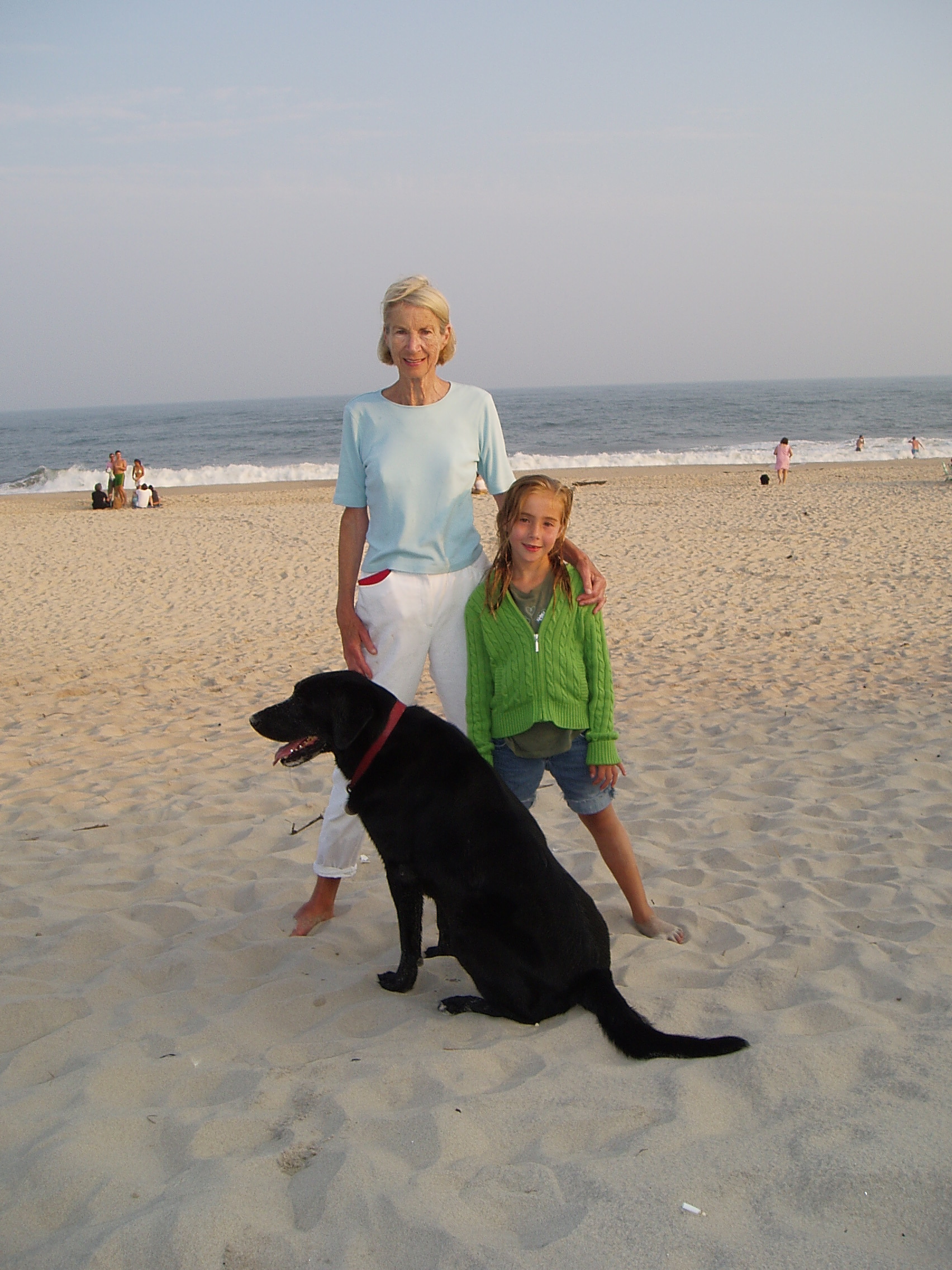 Elise Quimby on the beach at Bridgehampton with her granddaughter Jane Cole.