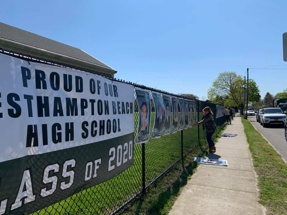 Parents hung portraits for Westhampton Beach seniors last week to honor the class of 2020.