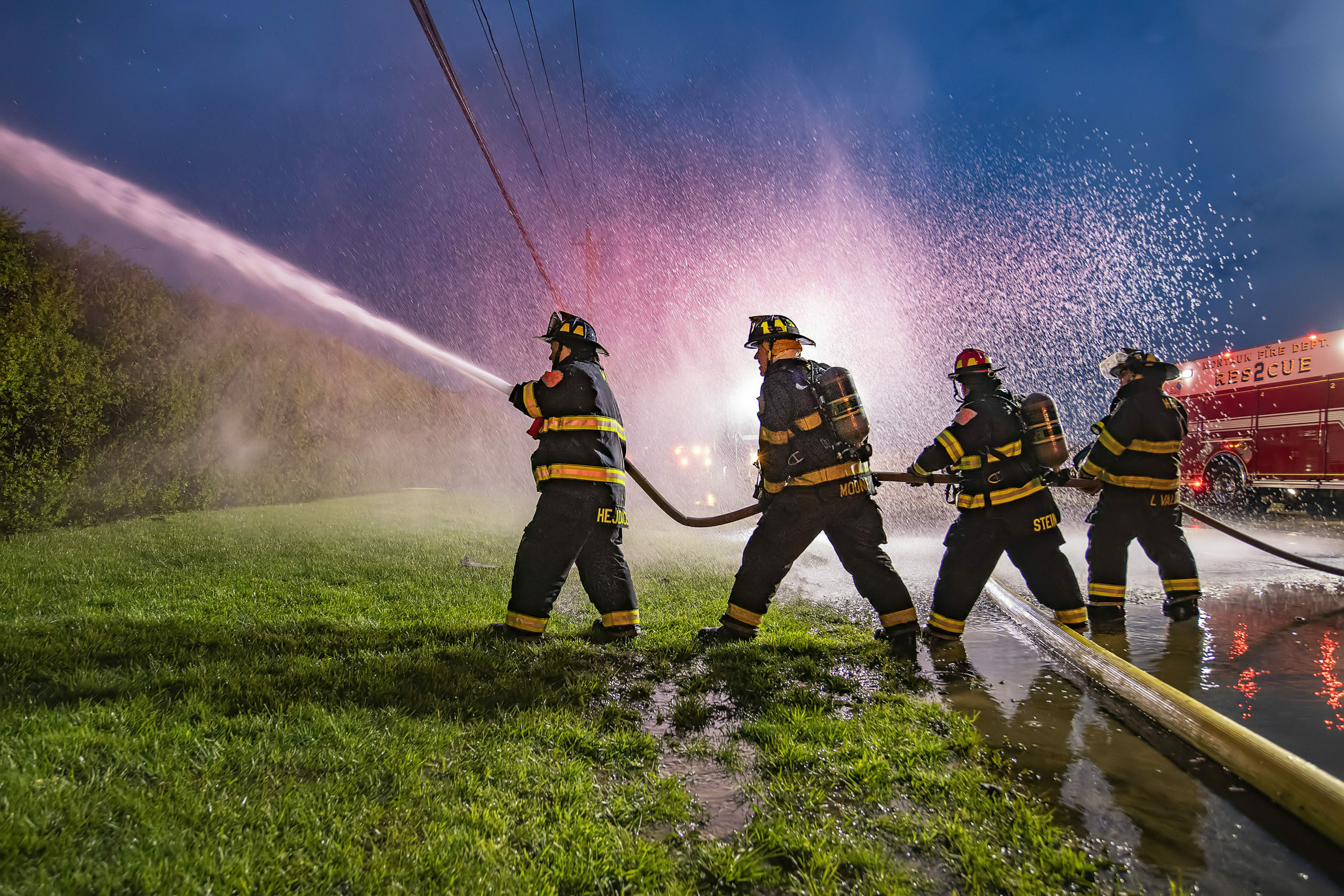 Legislation sponsored by Assemblyman Fred Thiele designed  to ensure volunteer firefighters, like those who fought a recent blaze at the Atlantic Bluffs Condominium complex in Montauk, can get length of service credit during the pandemic response has passed. MICHAEL HELLER