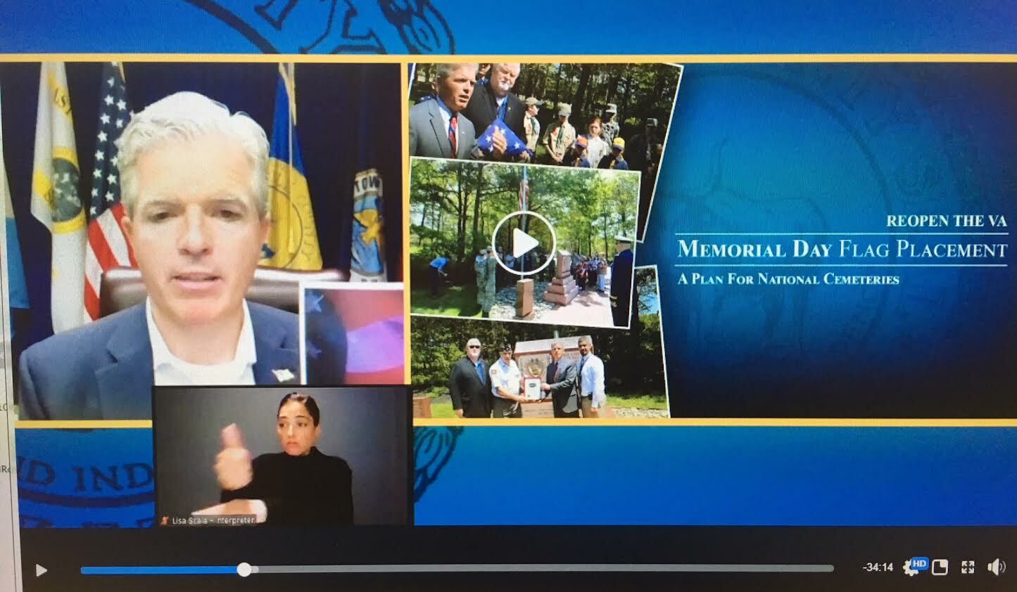 Suffolk County Executive Steve Bellone discussed flag placement plans during his daily media update Tuesday.