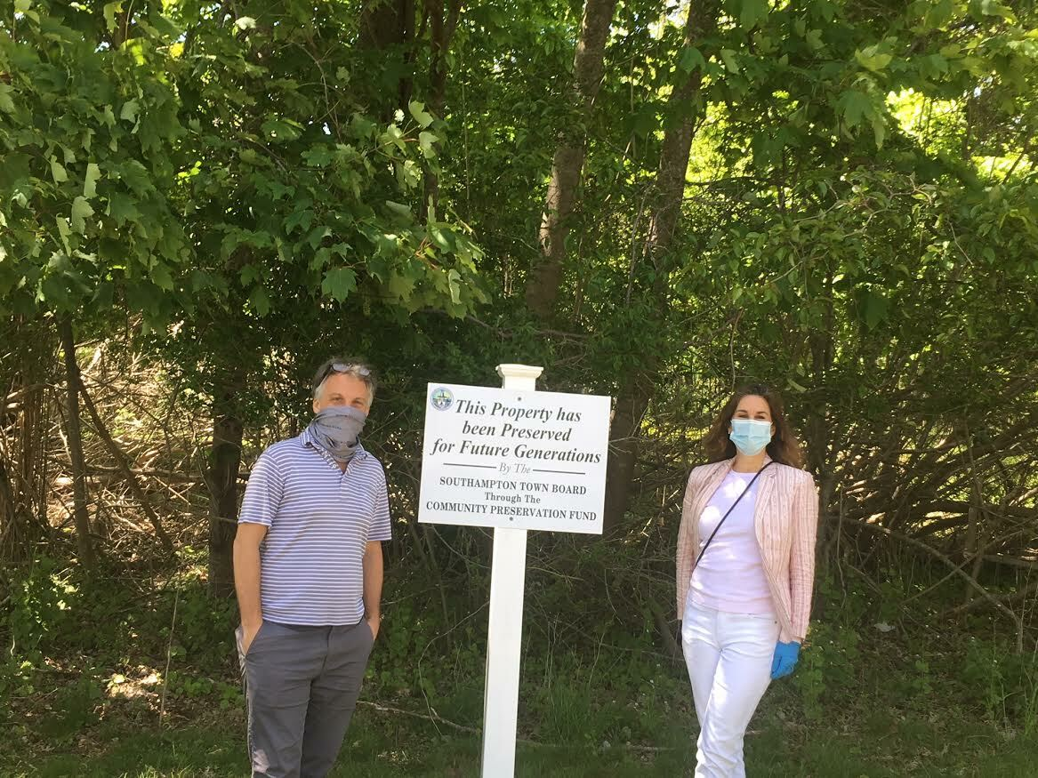 Southampton Village Board members andrew Pilaro and Kimberly Allan at the preserved site. KITTY MERRILL