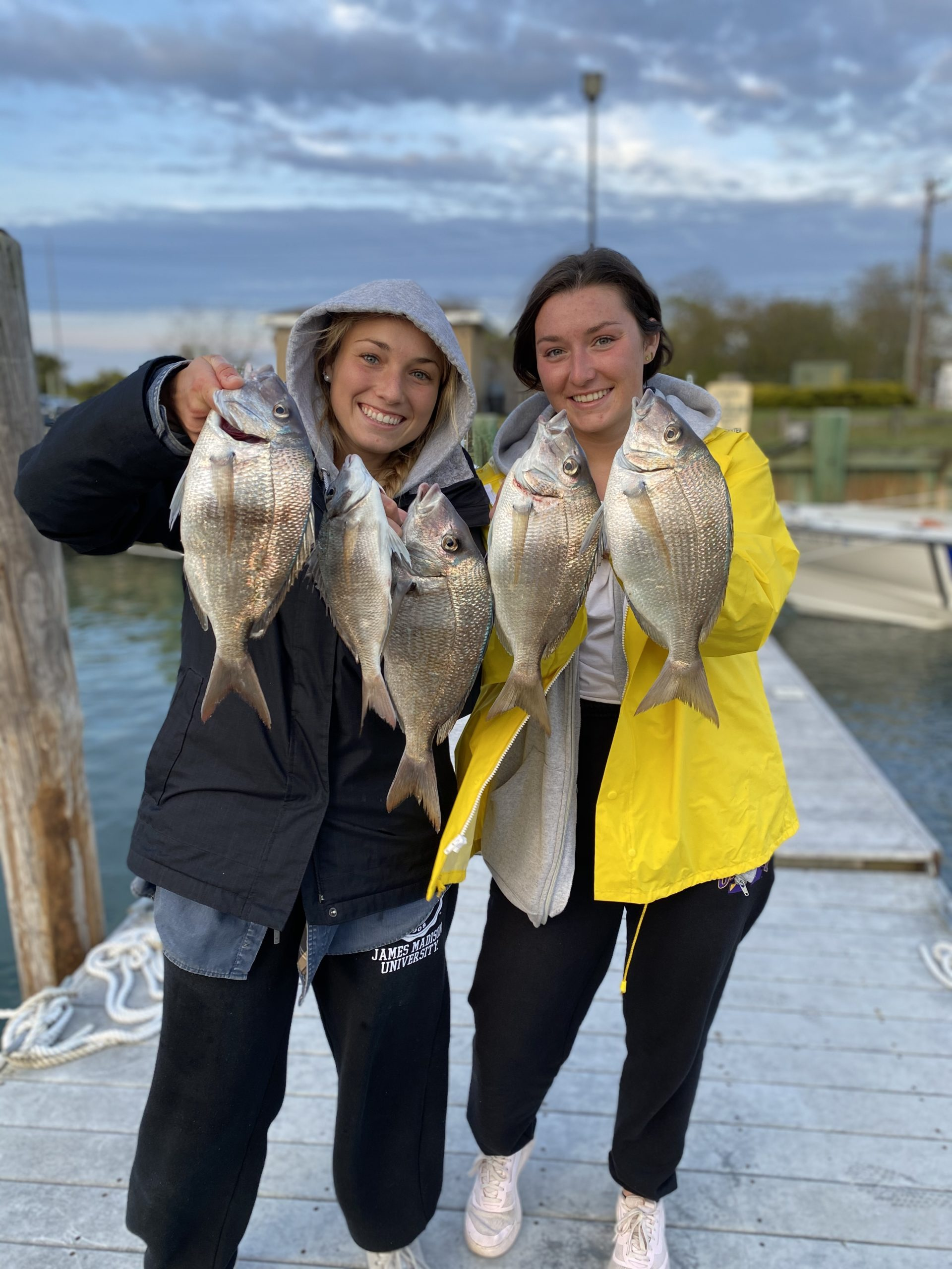 The Zaweski twins, Laura and Drew, from Hampton Bays filled buckets with jumbo porgies while fishing with their dad in the Peconics recently.