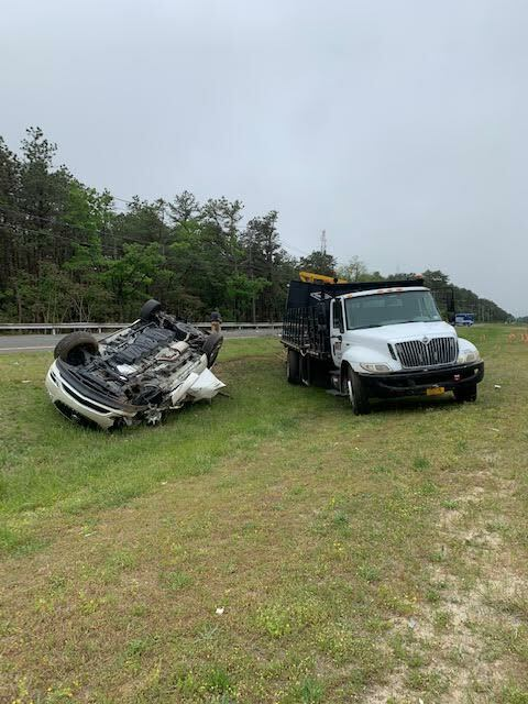 Southampton Town Police responded to a vehicle rollover on County Road 51 on Friday morning.