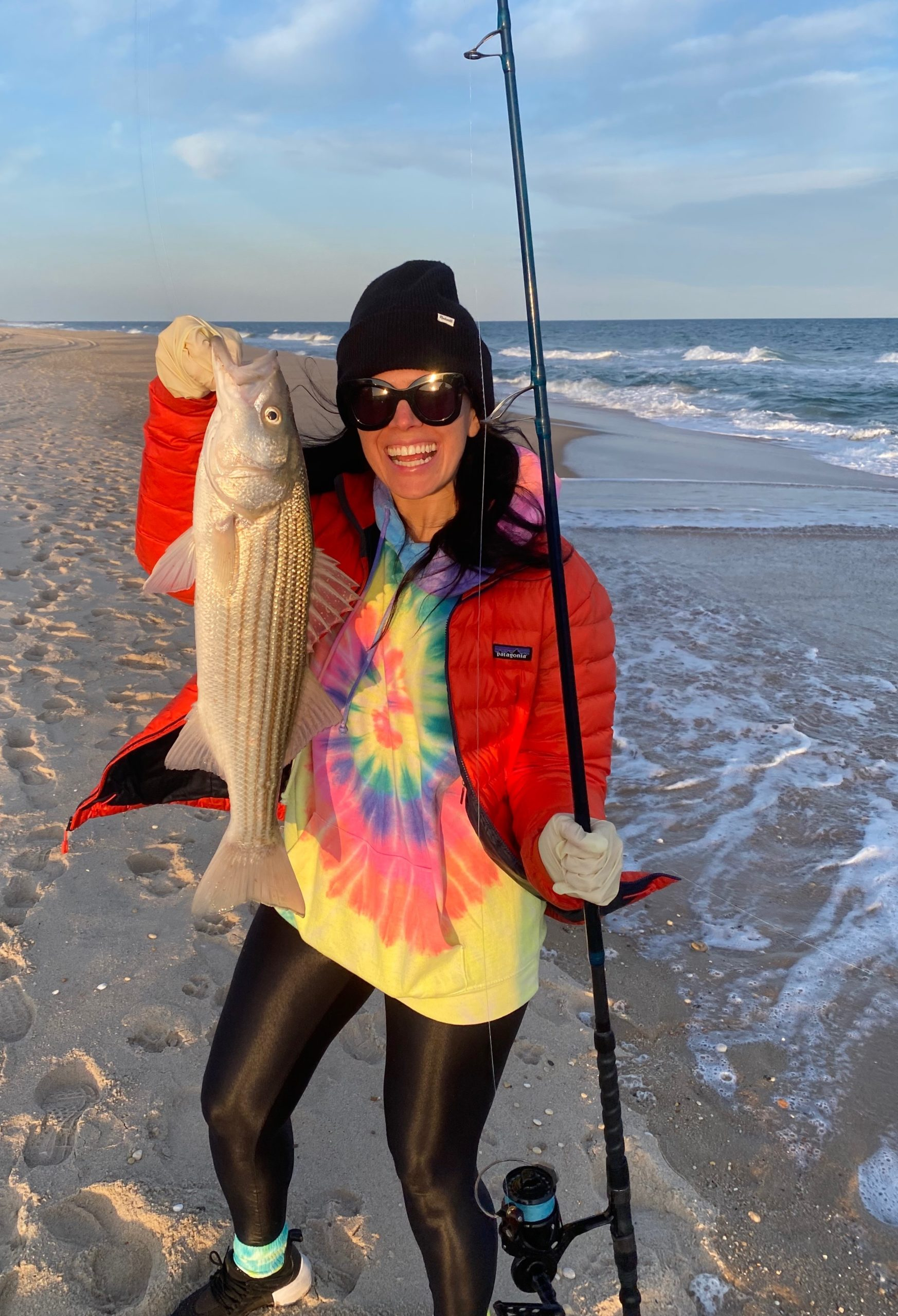 You an always count on Jess Lobosco to add a splash of color to the surf fishing scene.