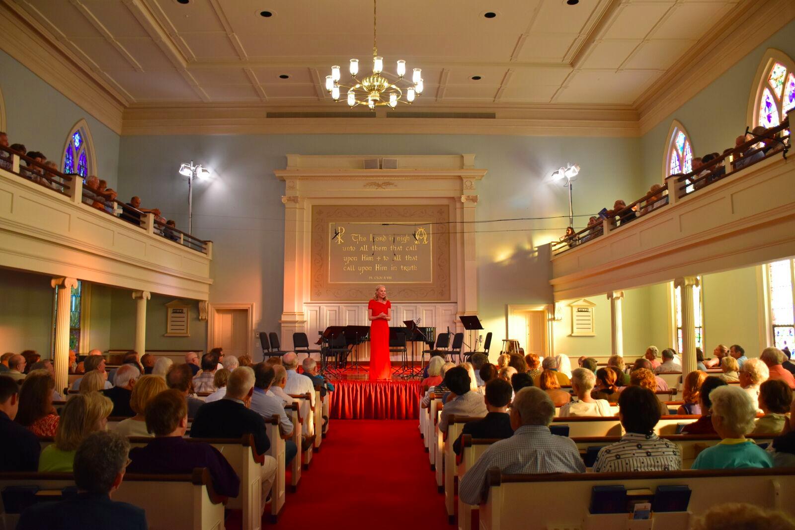 Marya Martin, founder of the Bridgehampton Chamber Music Festival, durng a previous festival at the Bridgehampton Presbyterian Church.
