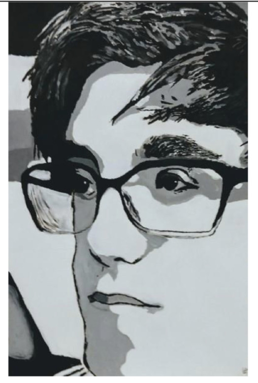 Liam Huberty's self-portrait was honored in The Parrish Art Museum's Student Art Festival.