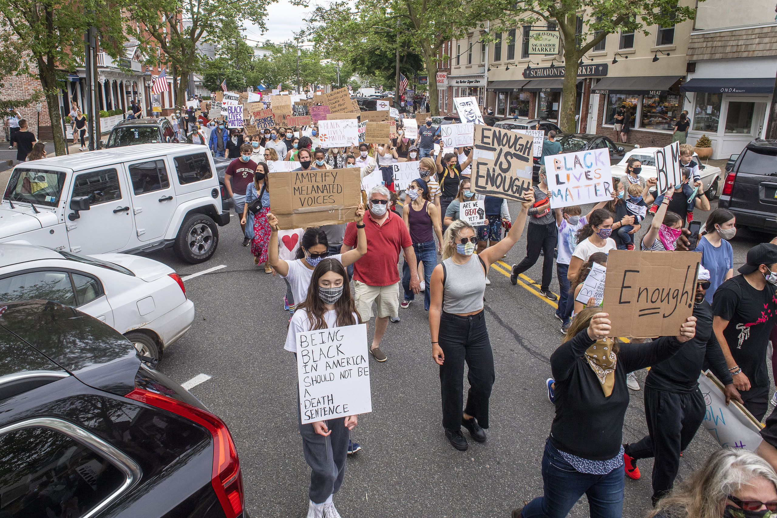 Hundreds of people participated in a protest on Friday in Sag Harbor against police brutality and racism. MICHAEL HELLER