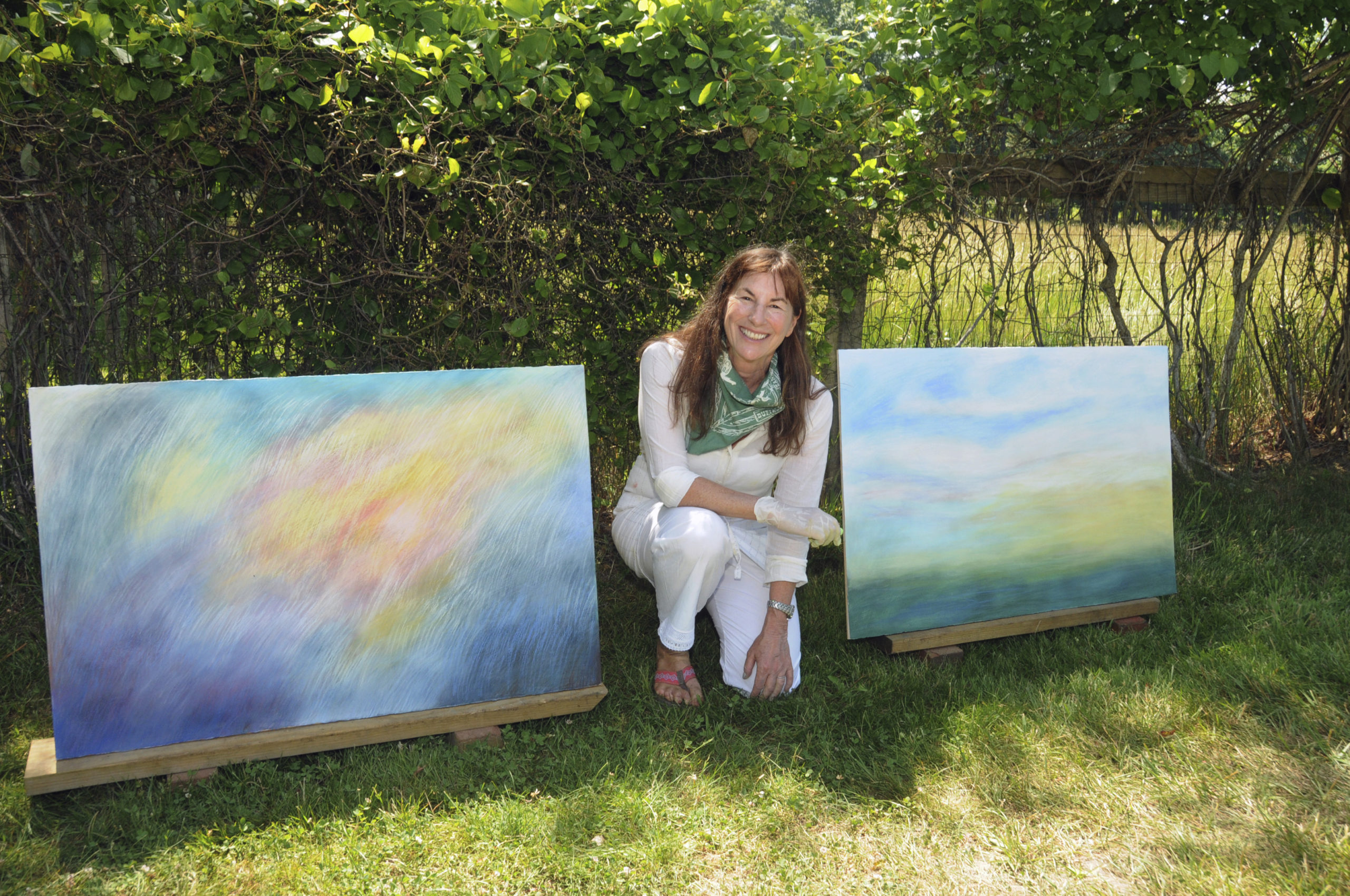 East Hampton Artist Barbara Thomas, along with 70 other EH Artists, set up her drive-by pop-up gallery in front of her home on Saturday for