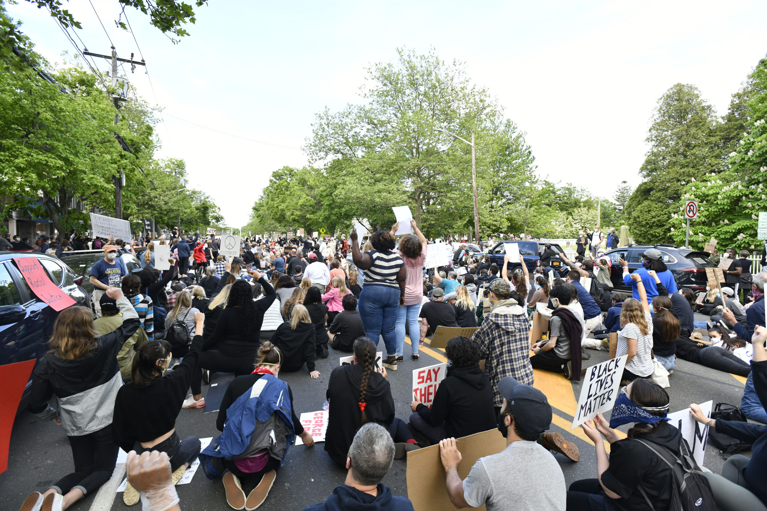 Hundreds of people gathered in Bridgehampton on Tuesday evening to protest the death of George Floyd.