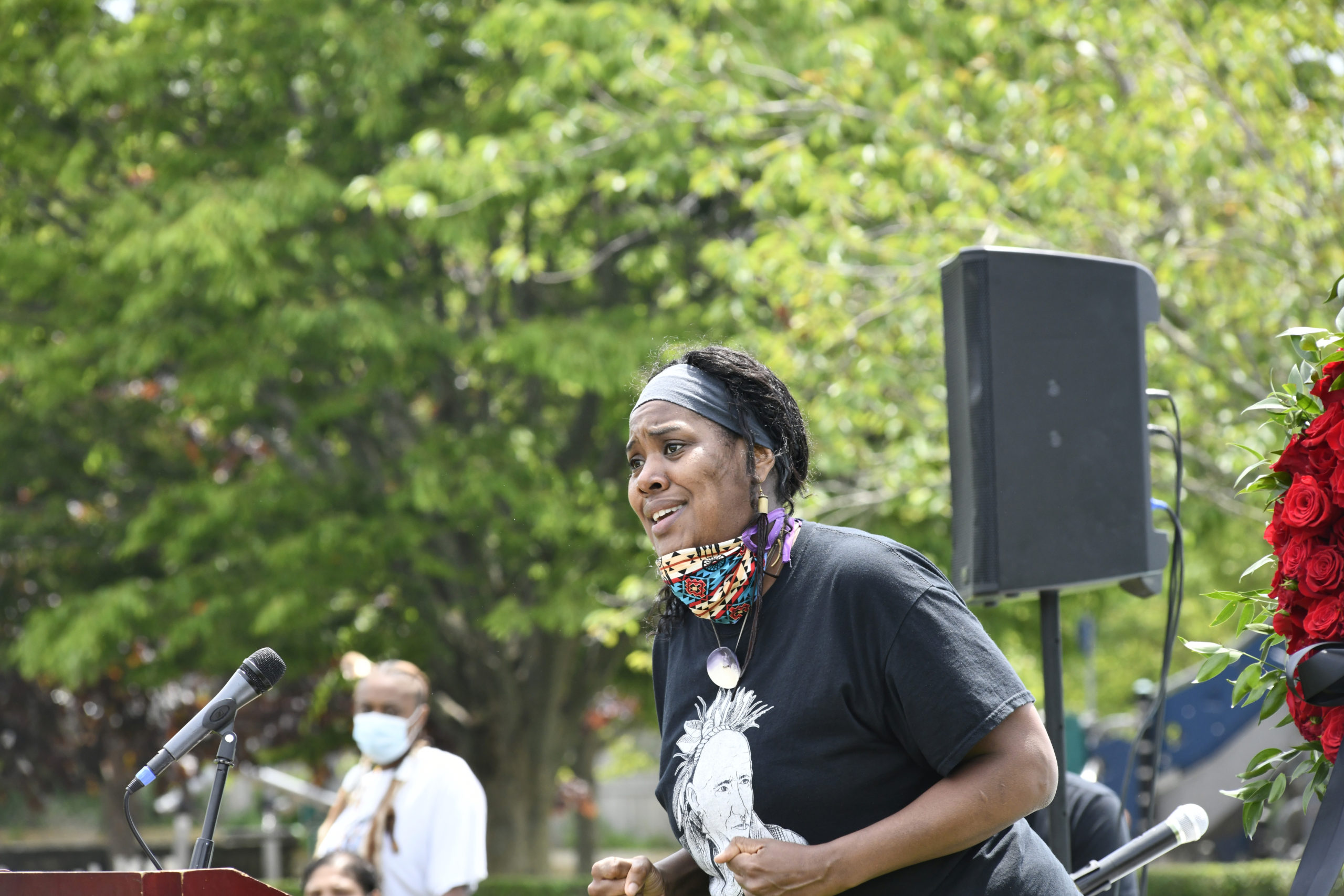 Andrina Smith gave an impassioned speech at the vigil in Agawam Park on Thursday.  DANA SHAW