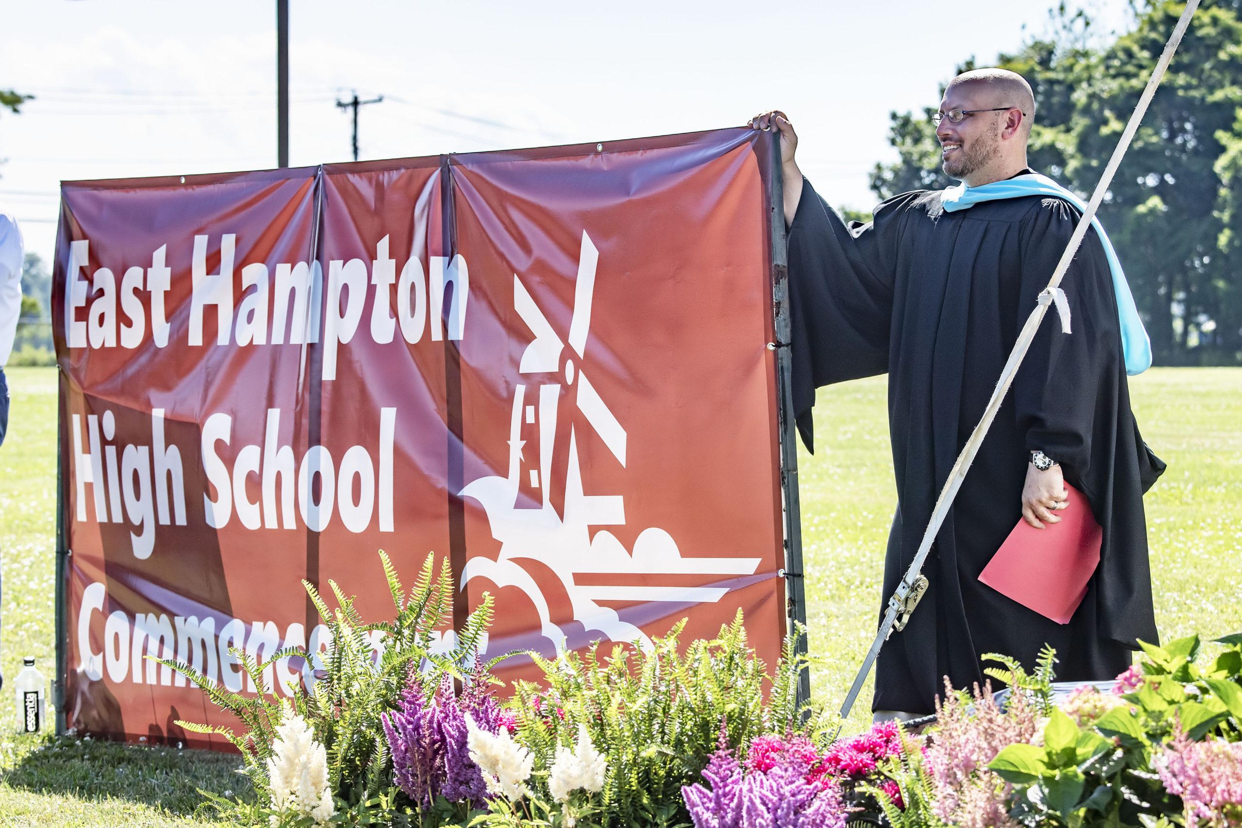 East Hampton High School Principal Adam Fine during the 2020 graduation ceremony at the East Hampton High School on Friday.