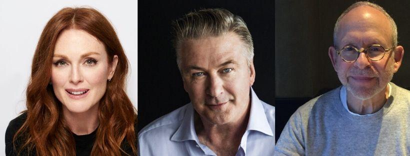 Julianne Moore, Alec Baldwin and Bob Balaban take part in a virtual staged reading of
