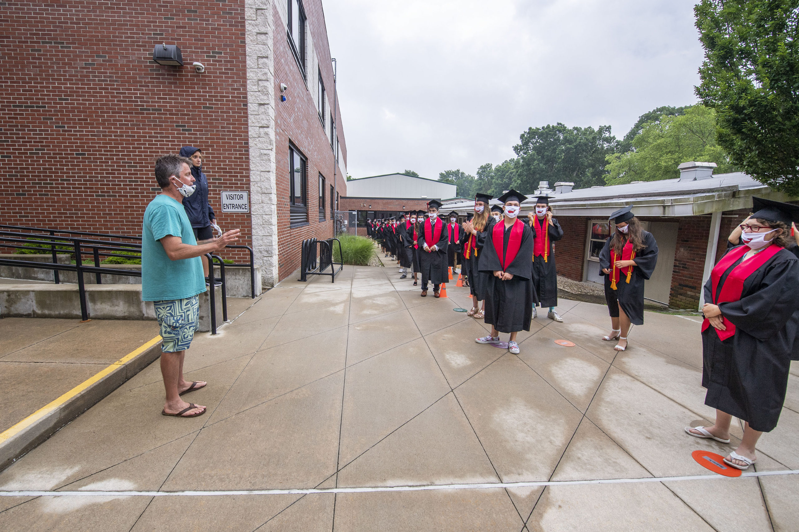 Sag Harbor Schools Superintendent Jeff Nichols gives last-minute instructions to the seniors prior to the start of the Pierson High School 2020 Commencement Ceremony at Pierson High School on Saturday.