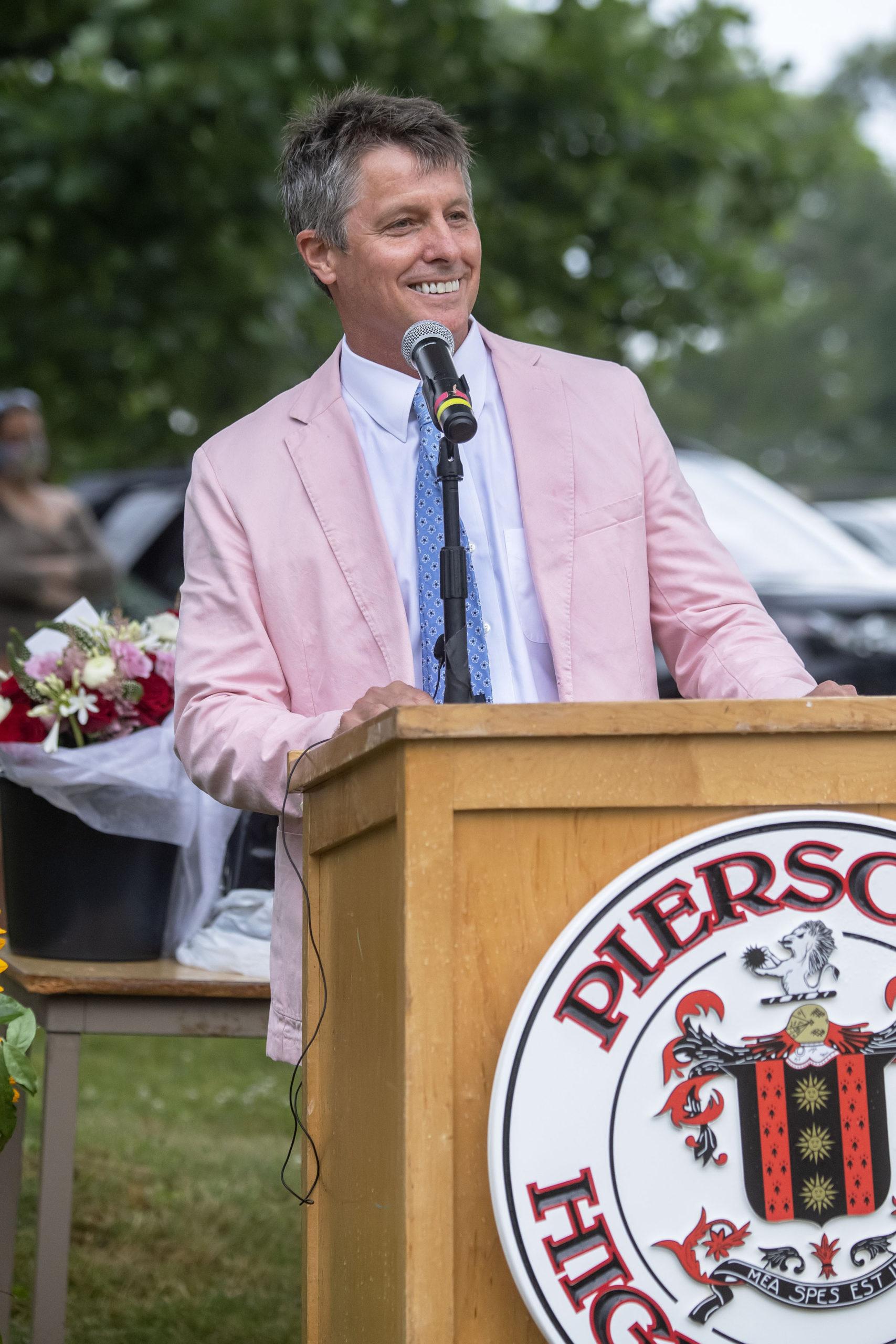 Sag Harbor Schools Superintendent Jeff Nichols speaks Pierson High School 2020 Commencement Ceremony at Pierson High School on Saturday.