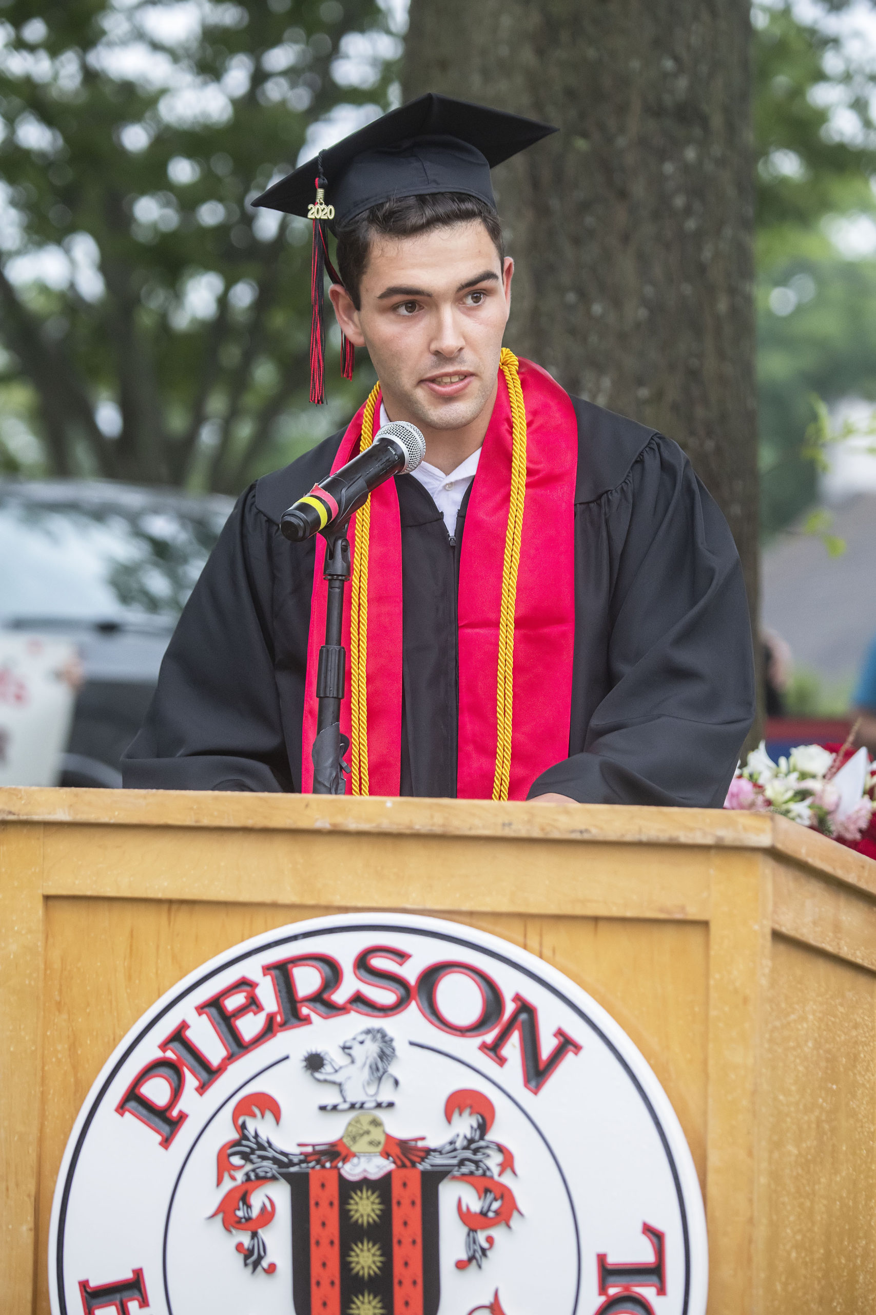 Salutatorian Chase Allardice speaks during the Pierson High School 2020 Commencement Ceremony at Pierson High School on Saturday.