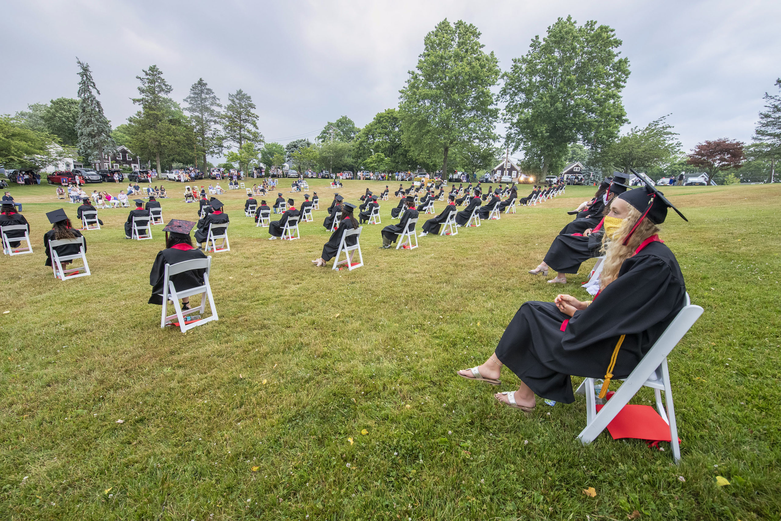 Senior Halle Kneeland watches the proceedings during the Pierson High School 2020 Commencement Ceremony at Pierson High School on Saturday.