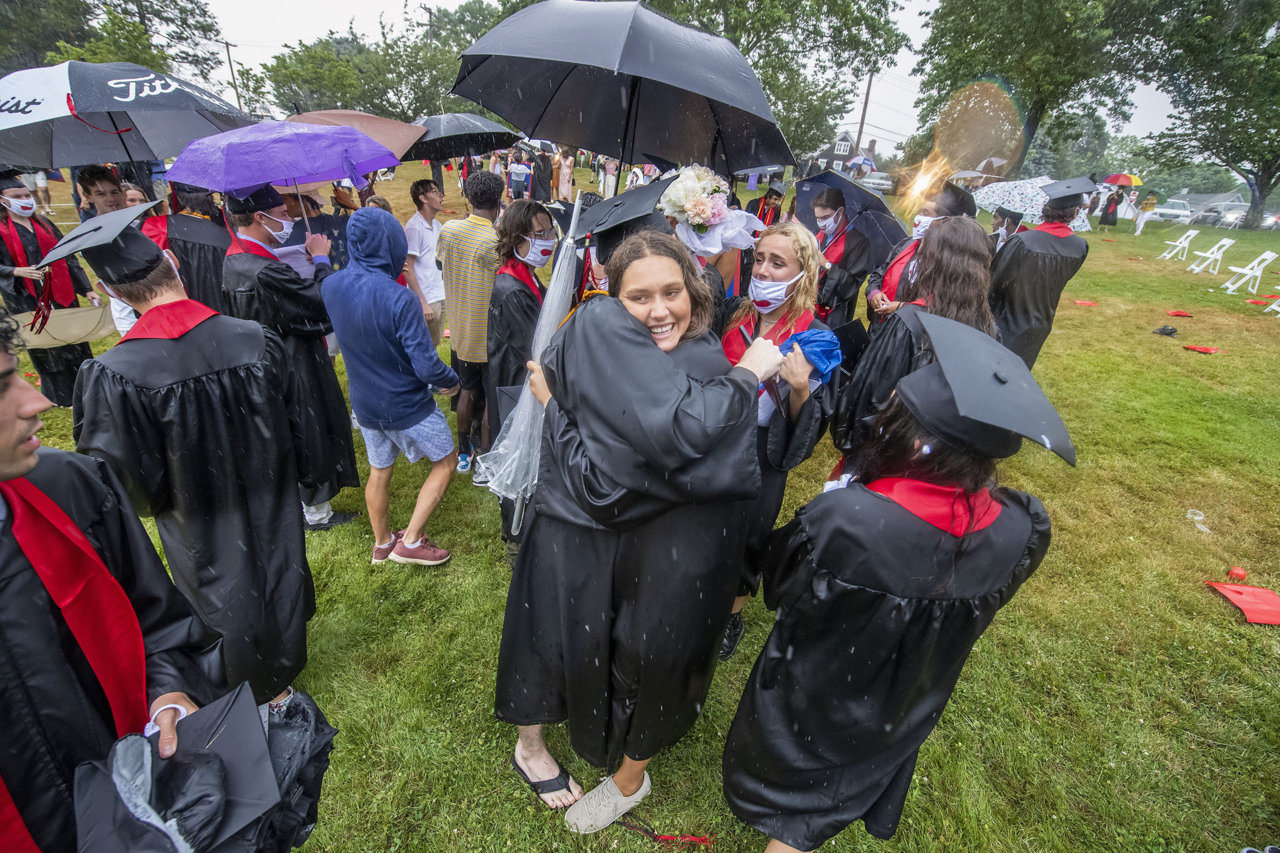 Haley Nill gets a big hug from Dylan Kruel following the Pierson High School 2020 Commencement Ceremony at Pierson High School on Saturday.