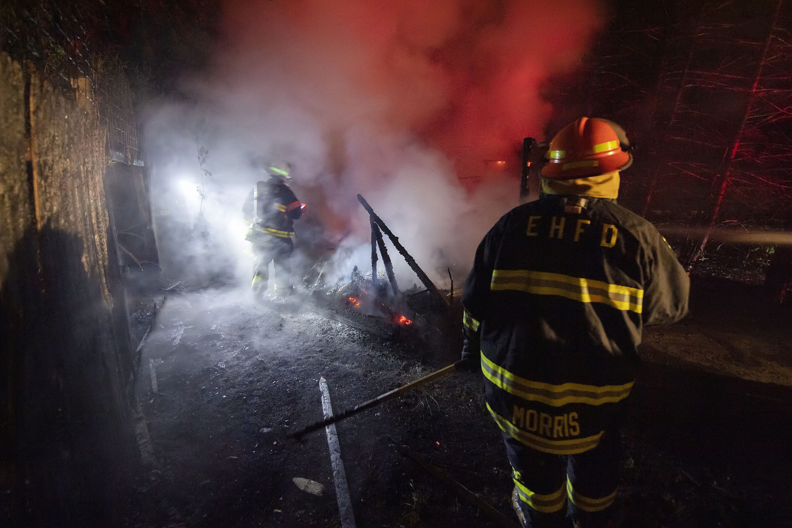 East Hampton firefighters were called out to extinguish a fire that destroyd a shed on Cove Hollow Road in East Hampton late June 17. MICHAEL HELLER PHOTOS