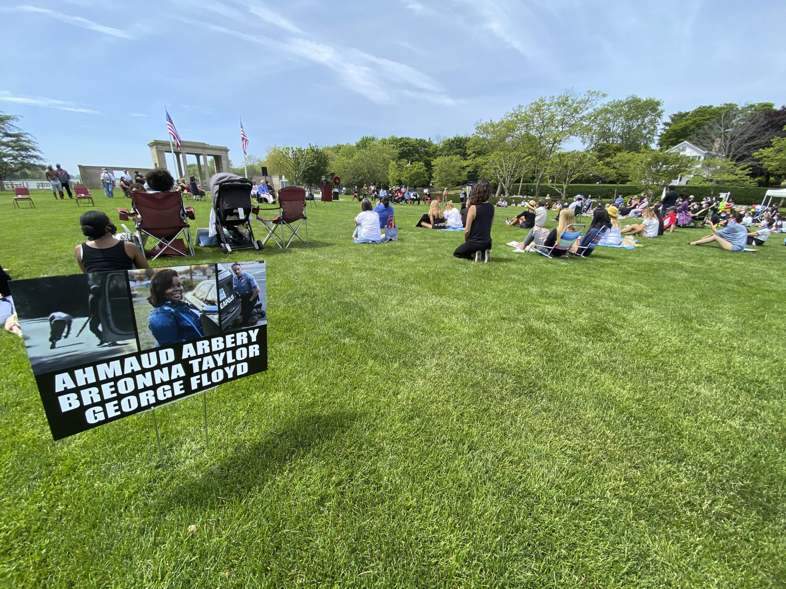A vigil was held in Agawam Park in Southampton Village on Thursday morning.   DANA SHAW