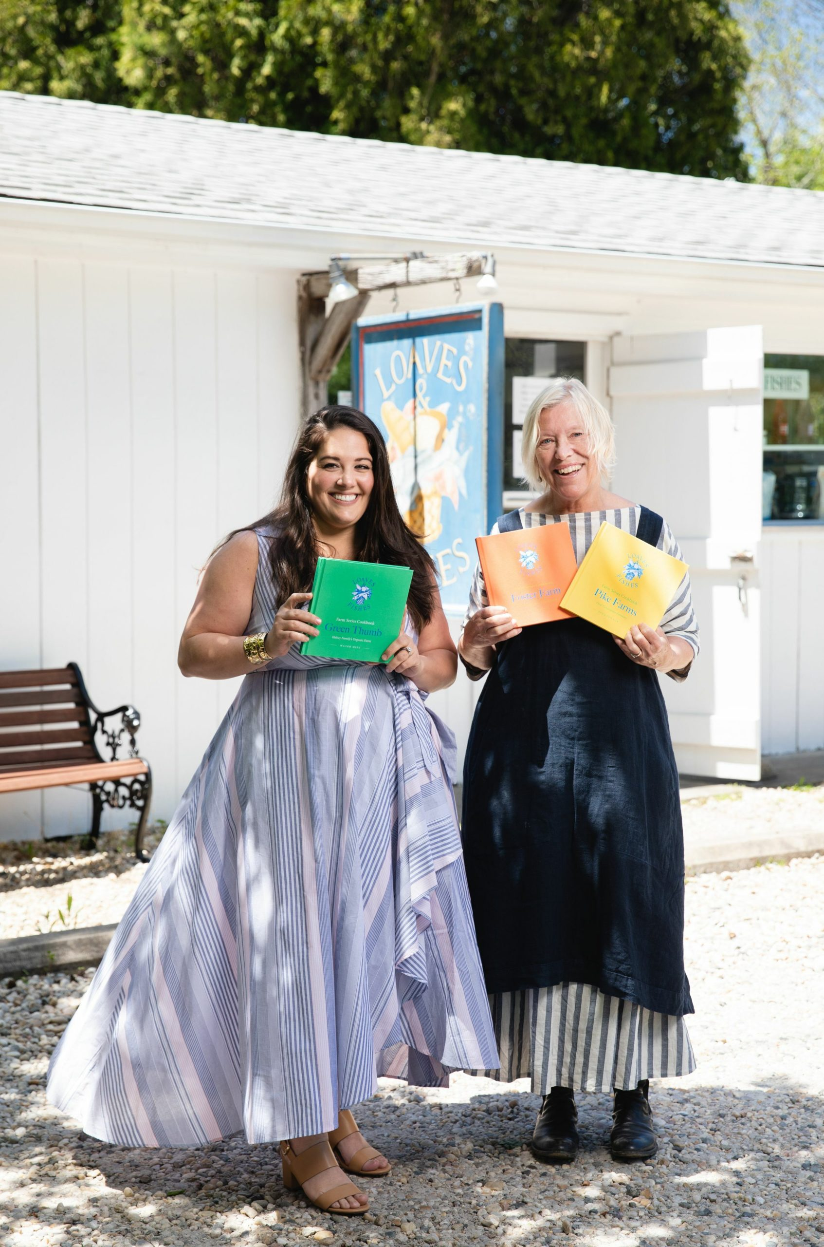 Licia Kassim Householder, left, and Sybille van Kempen with the first three Farm Series cookbooks.