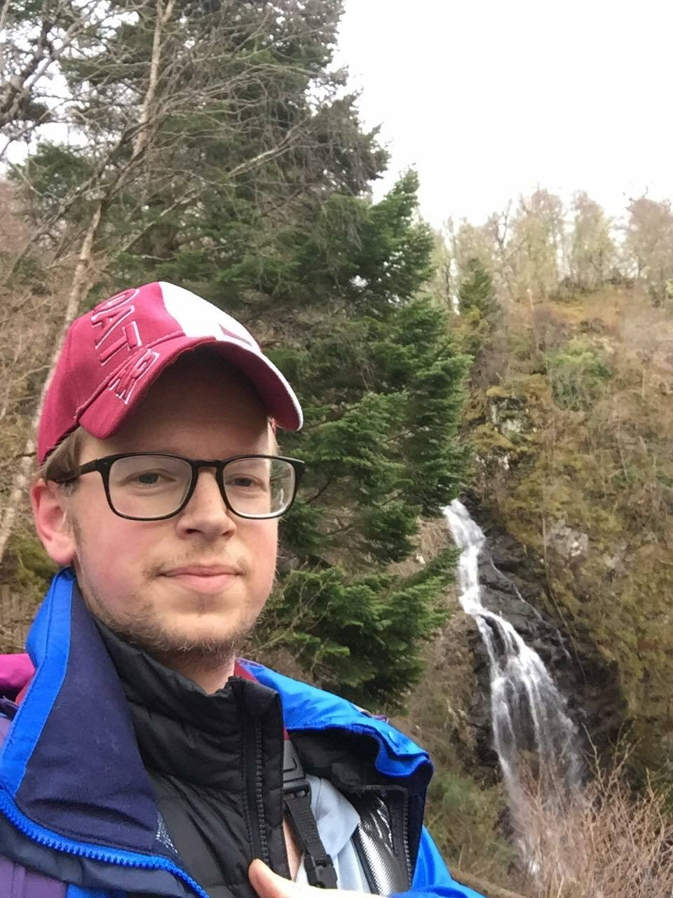 Ben Lindstrom-Ives at the Falls of Divach near the Great Glen Way, not far from where the Sag Harbor native is sheltering in place during the COVID-19 pandemic.