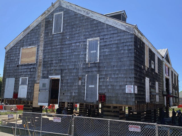 Tupper Boathouse at Conscience Point in North Sea is currently undergoing a major restoration. The lift and structural stabilization are part of a $1.29 million project.       COURTESY SOUTHAMPTON TOWN