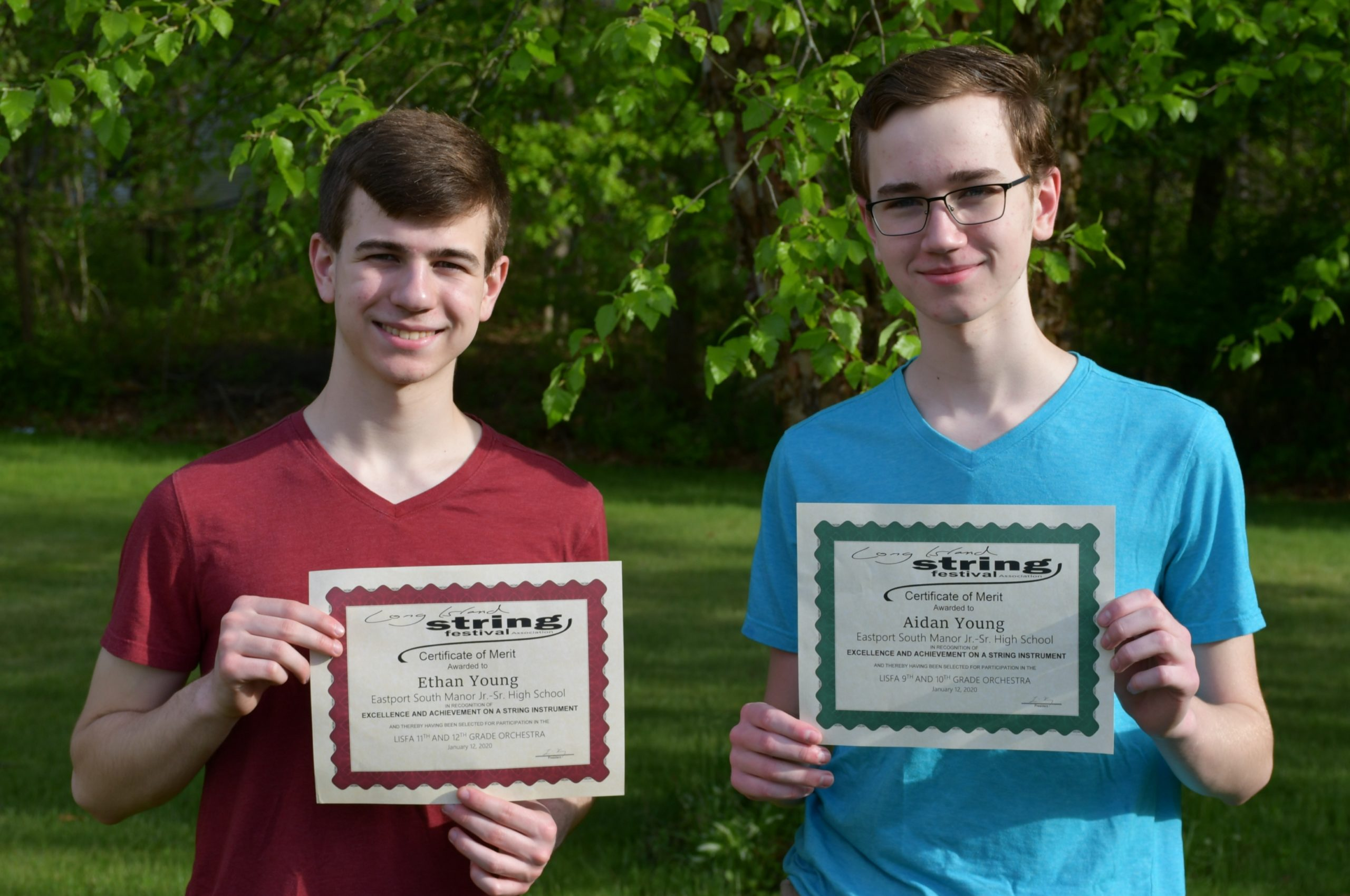 Eastport-South Manor Junior-Senior High School students Aidan and Ethan Young received scholarships for their outstanding accomplishments in music.