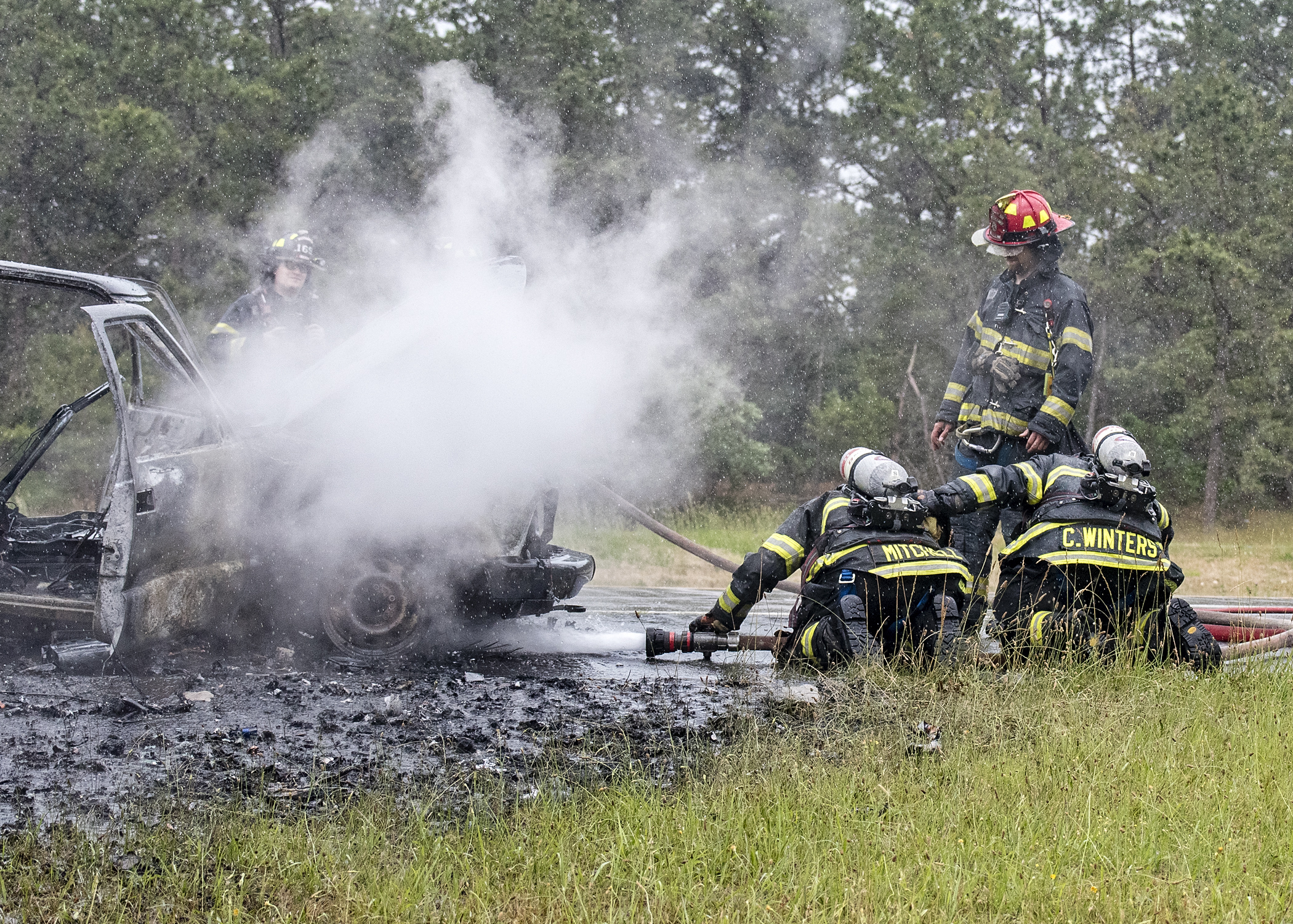 Westhampton Beach Fire Department extinguished a vehicle fire on Sunrise Highway Saturday.