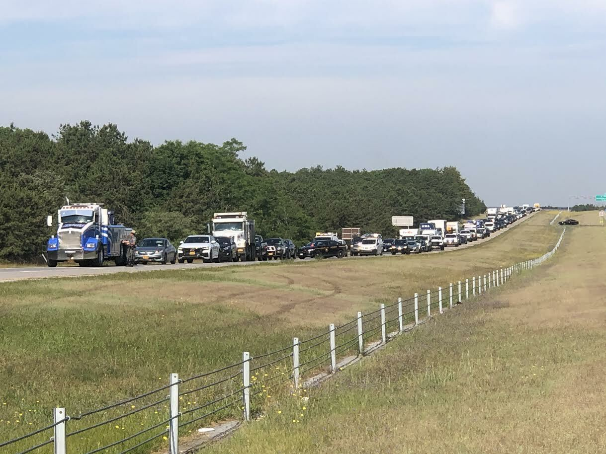 Traffic snarled on Sunrise Highway Friday morning, after a single car accident closed  the highway for close to an hour.
