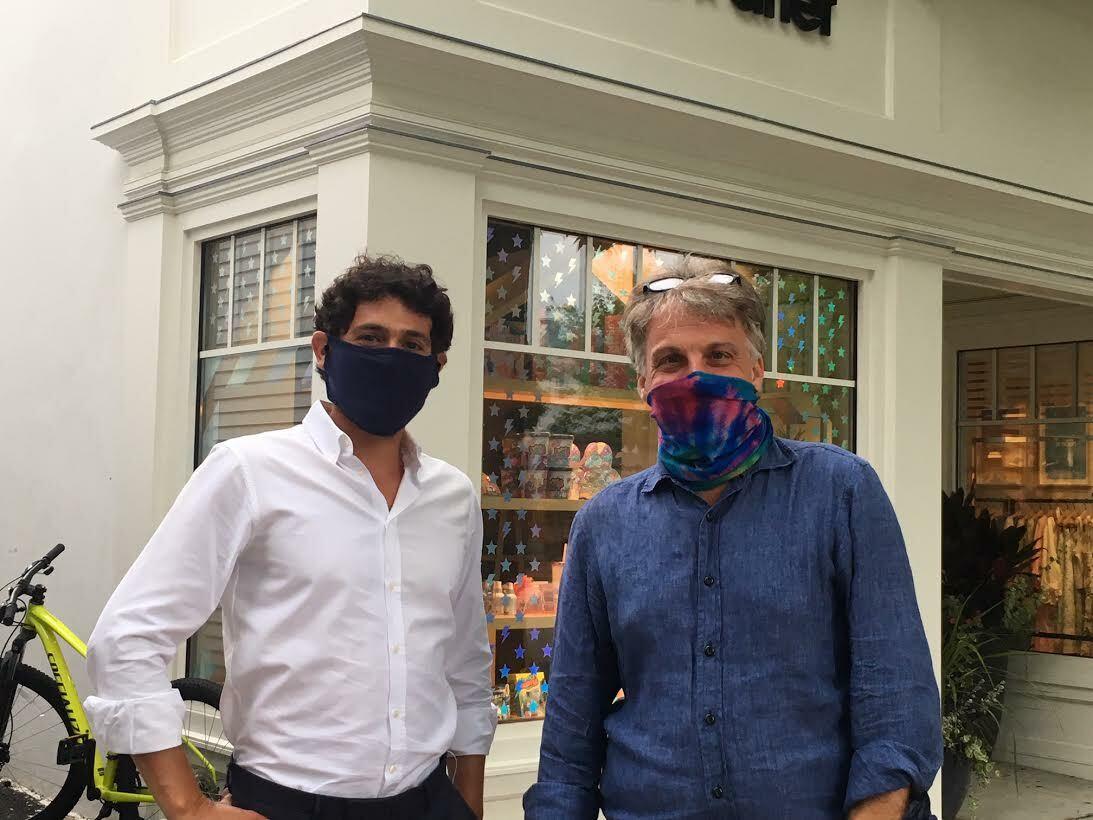 Southampton Village Mayor Jesse Warren and village board member Andrew Pilaro at Southampton in the Streets. KITTYMERRILL