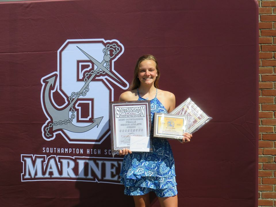 Caraline Oakley and Dakoda Smith, the Most Outstanding Senior Female and Male Athletes at Southampton High School, respectively.