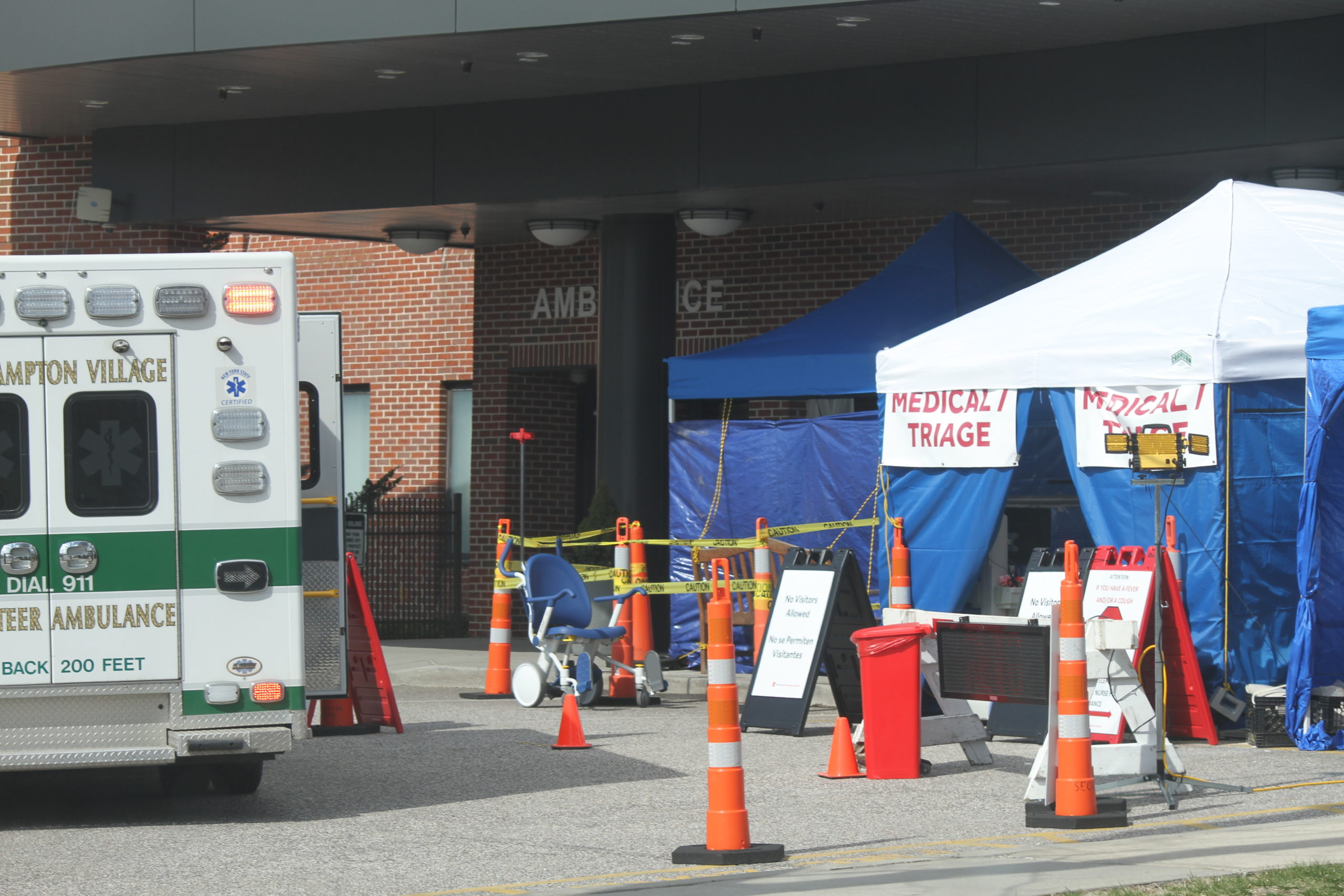 Stony Brook Southampton Hospital maintained an outdoor triage area during the height of the initial coronavirus surge.