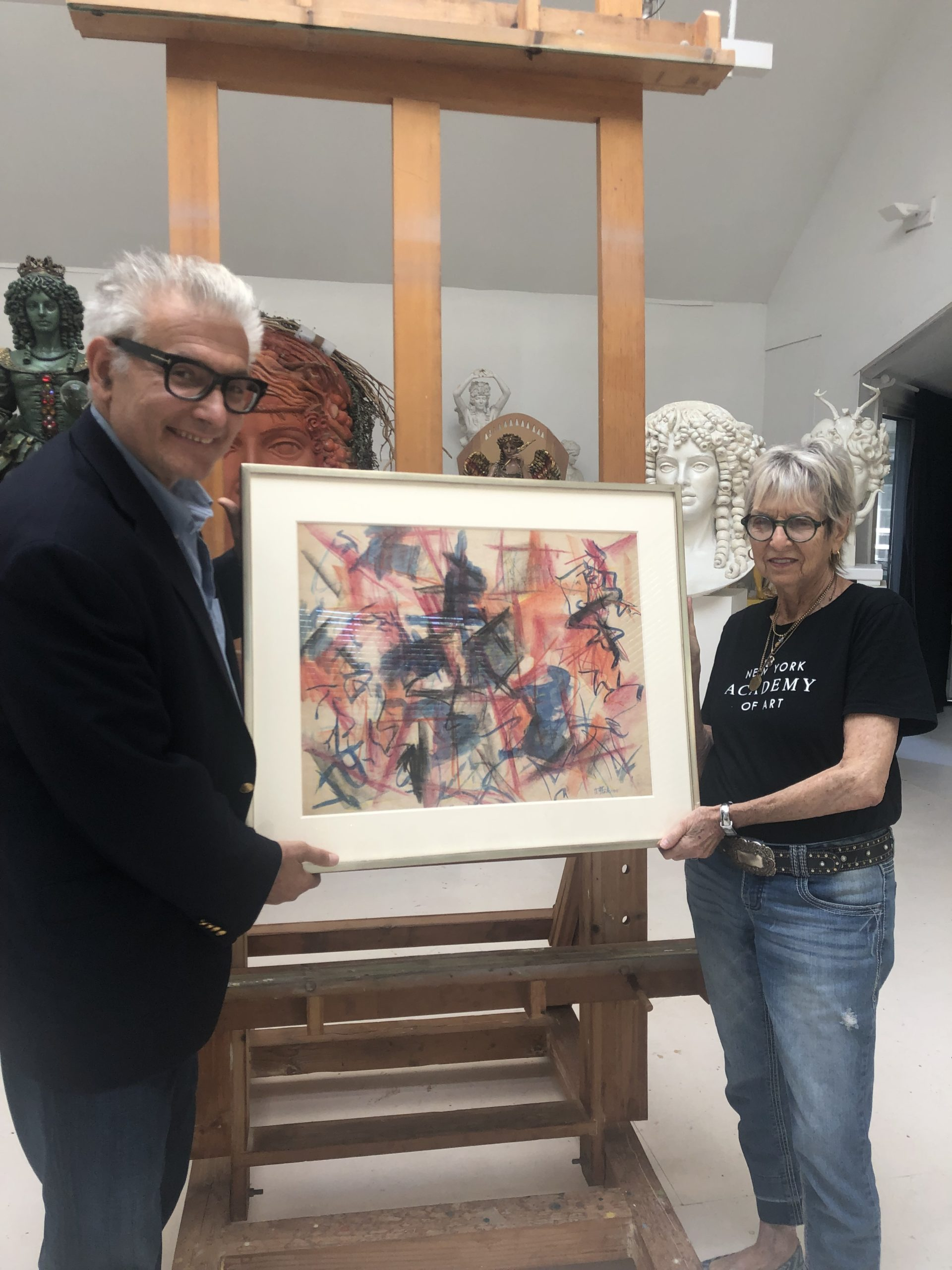 Hamptons Virtual Art Fair founder Rick Friedman with artit Audrey Flack, who will be honored at the fair.