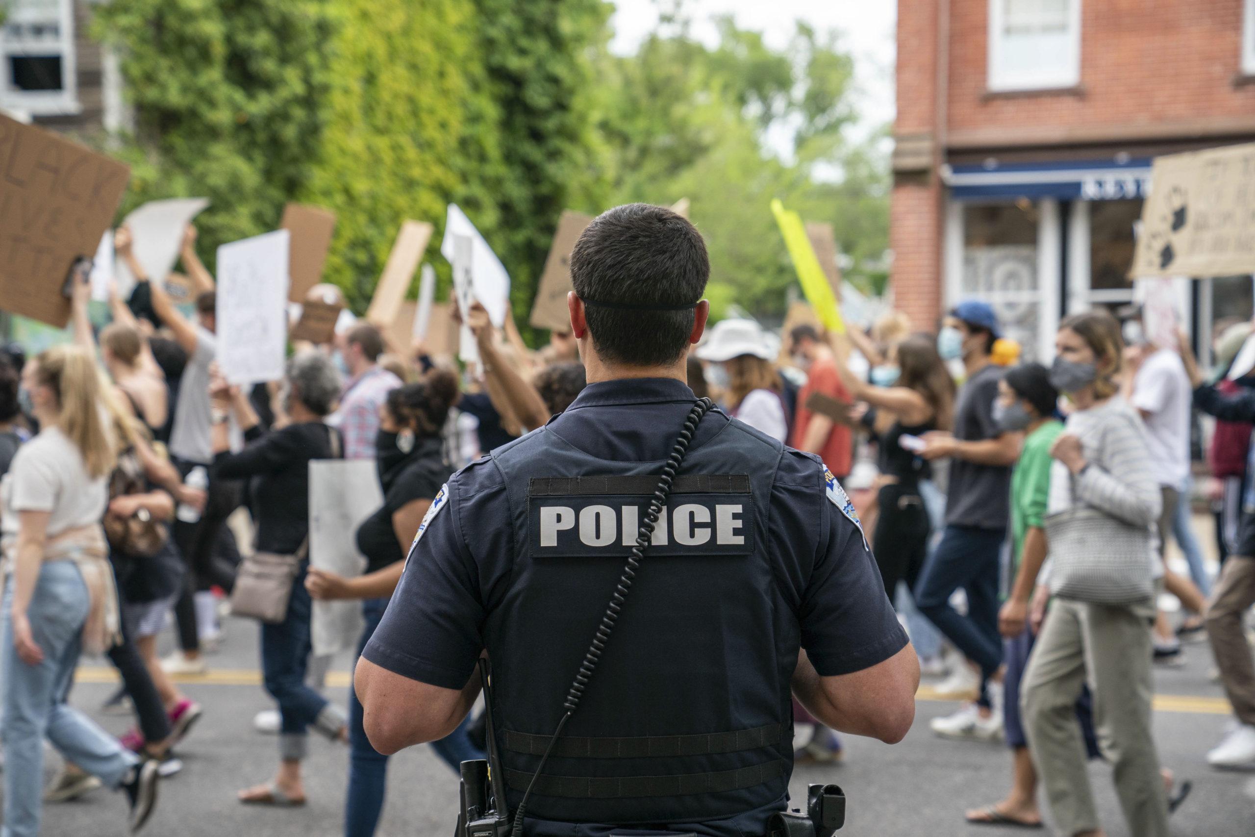 Law enforcement at the protest in Sag Harbor last month.  BEN PARKER