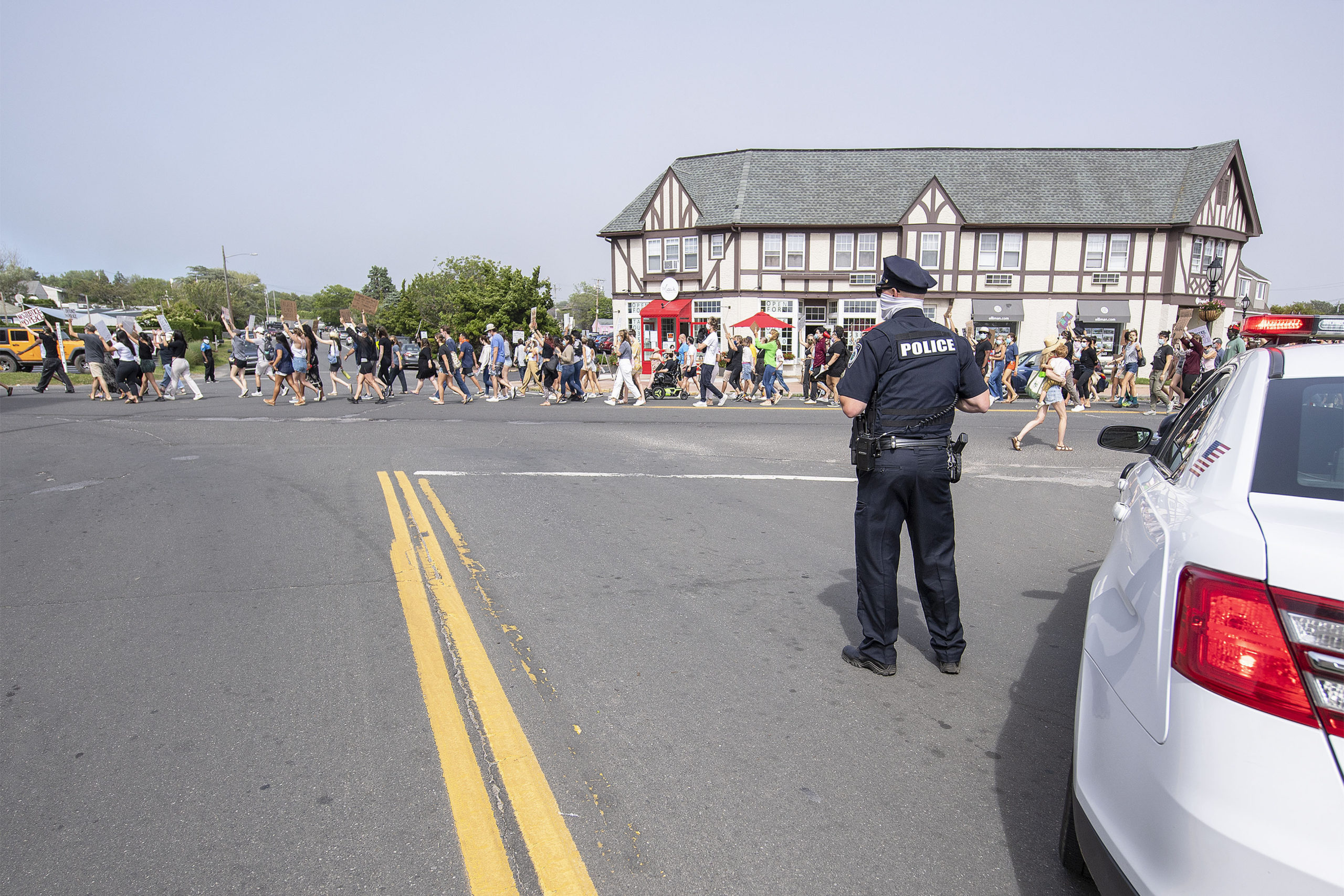 Law enforcement at the protest in Montauk last month.  MICHAEL HELLER