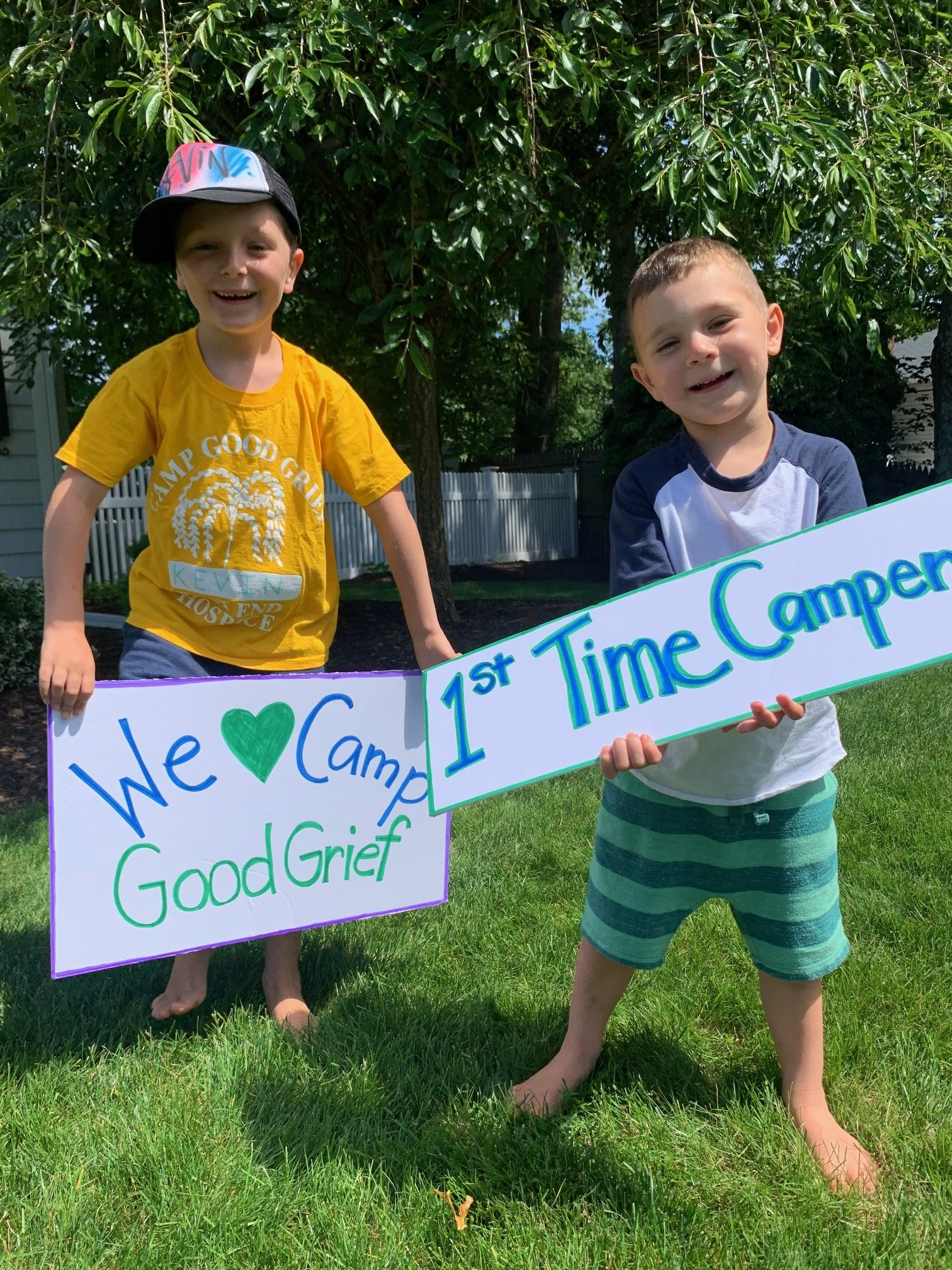 Camp Good Grief will welcome 88 campers on Monday including Kevin and Cormac Kretz of East Moriches. The camp, which is East End Hospice's bereavement camp for grieving children and teenagers, will operate at a reduced capacity this season and with modifications but continues to serve children across the East End. To donate, visit eeh.org.