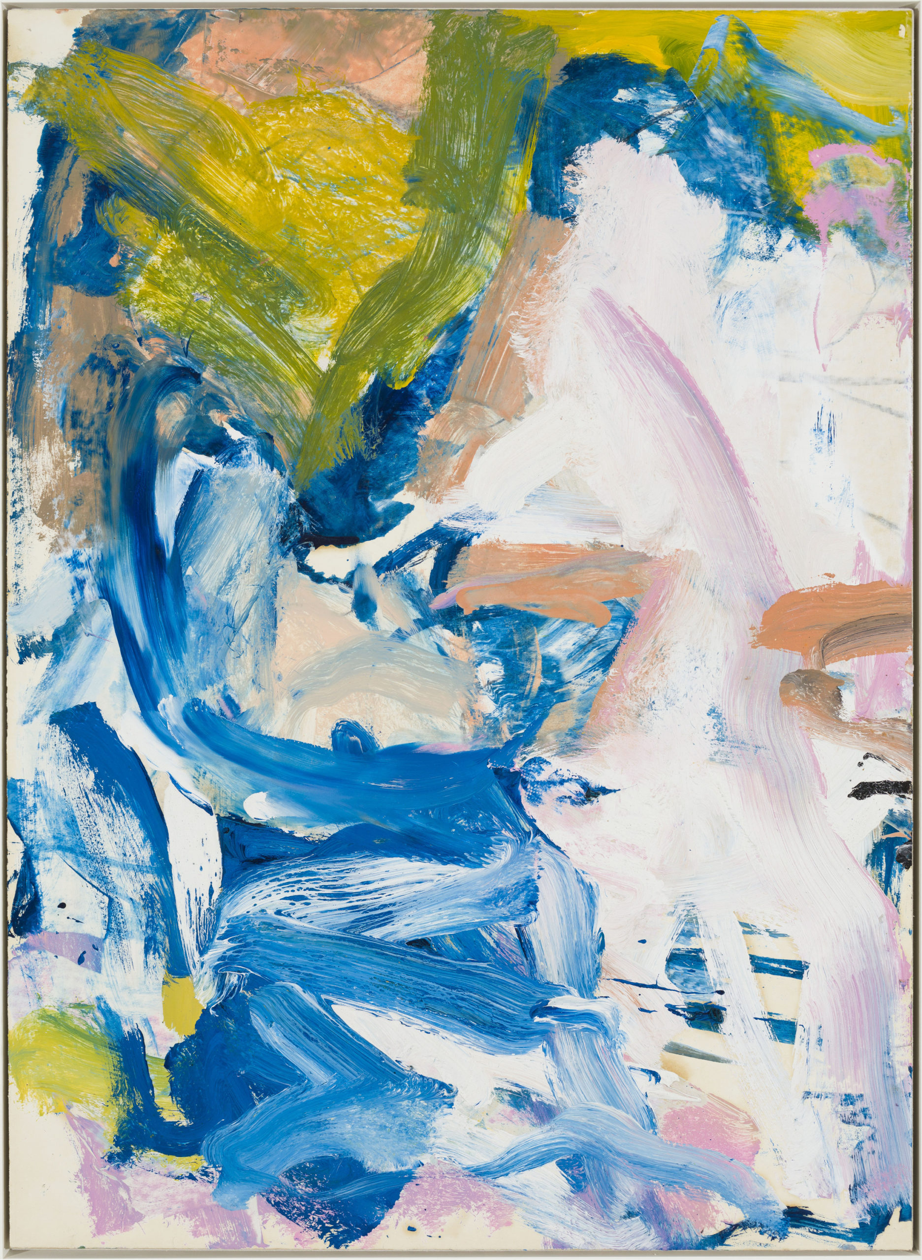 A 1977 painting by Willem de Kooning, which demonstrates an airier and more delicate approach to his work, is on view in the group exhibition,