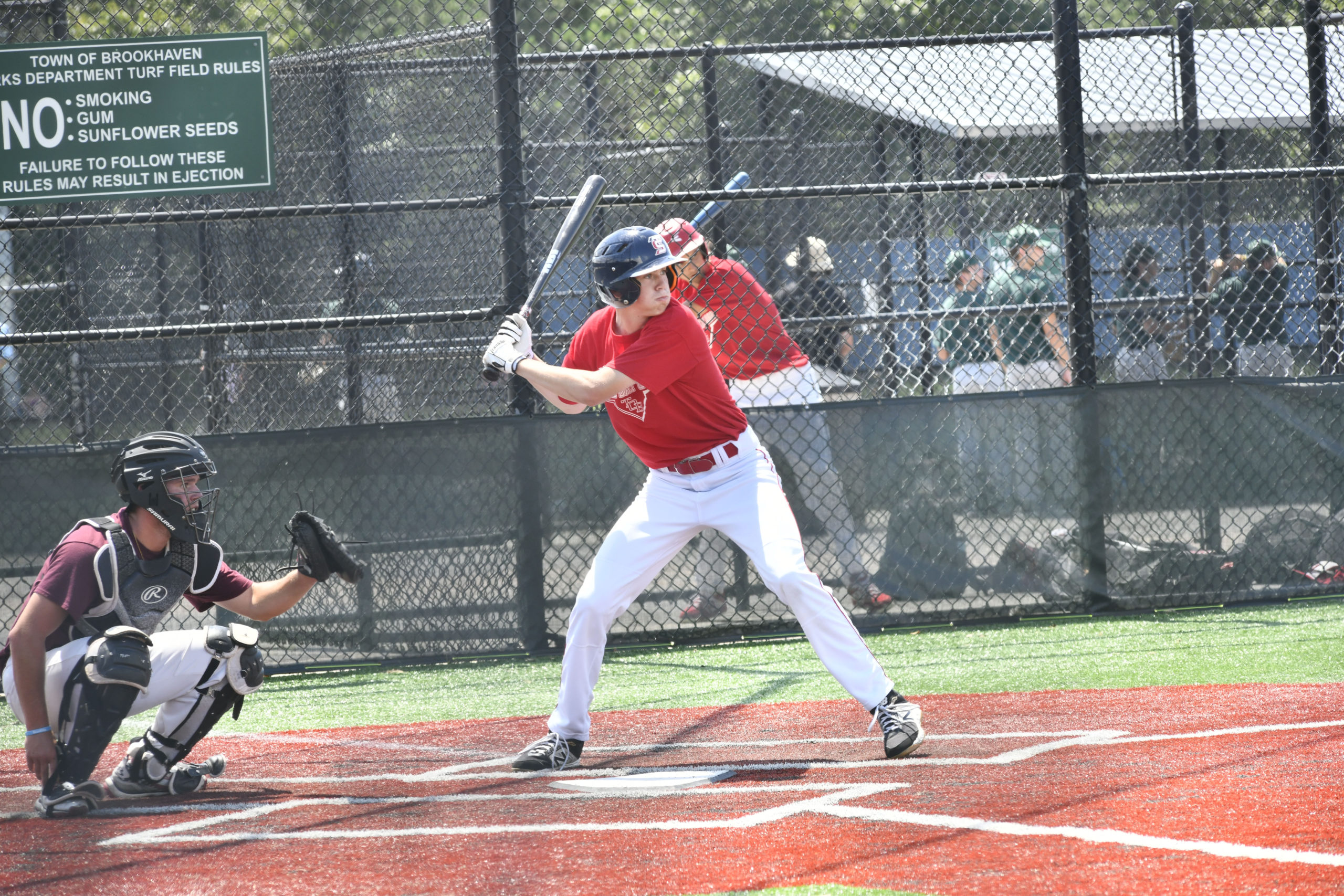 The Southampton and Pierson High School baseball teams participated faced off agaist each other in Moriches on Monday.  DANA SHAW