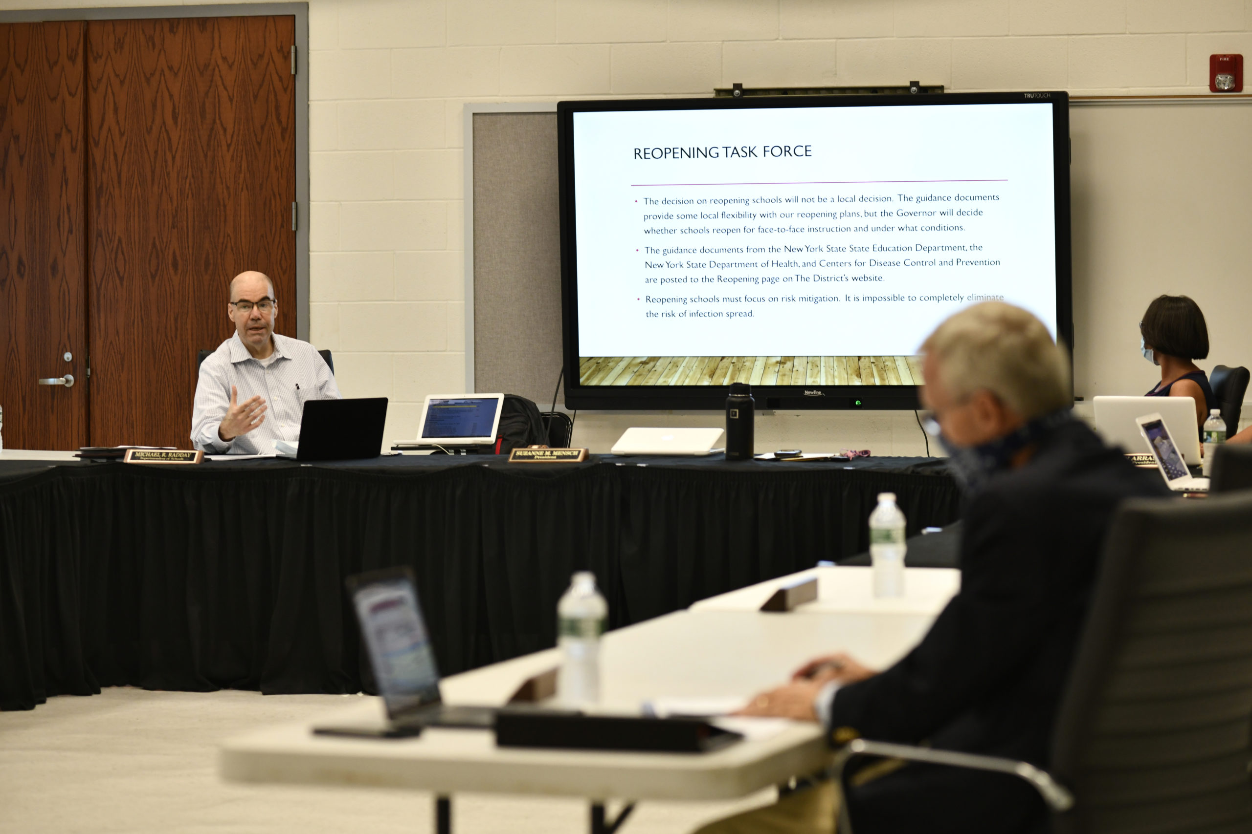 Westhampton Beach School District Superintendent Michael Radday talks about the reopening process at the board of education meeting on Monday evening.  DANA SHAW