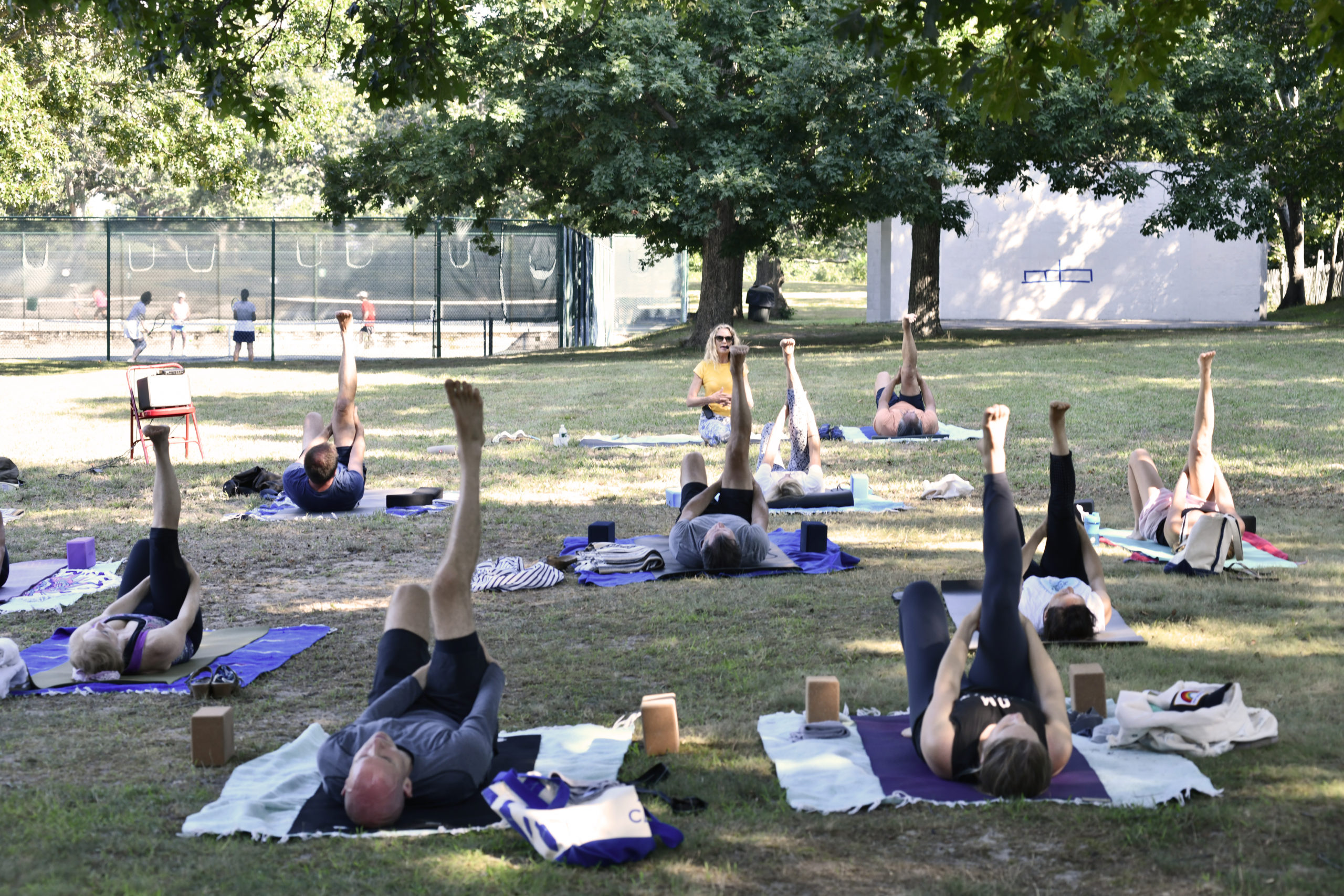 Yoga Shanti, the Sag-Harbor-based yoga studio, is holding daily outdoor yoga classes from 9 to 10 a.m., rain or shine, in Mashashimuet Park.     DANA SHAW
