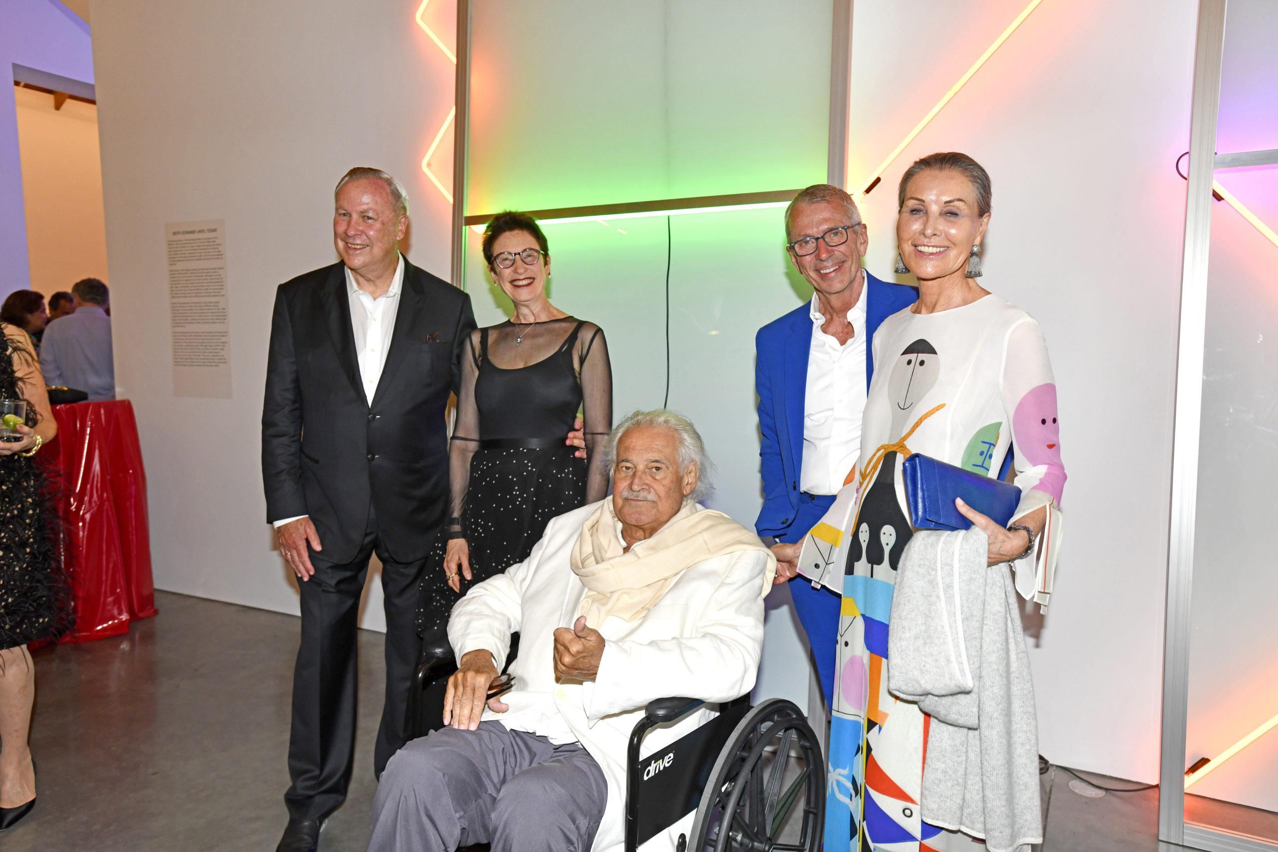 Keith Sonnier, center, with Robert Wilson, Terrie Sultan, Chad Leat and Maren Otto at the Parrish Art Musuem's 2018 gala.  PRESS FILE
