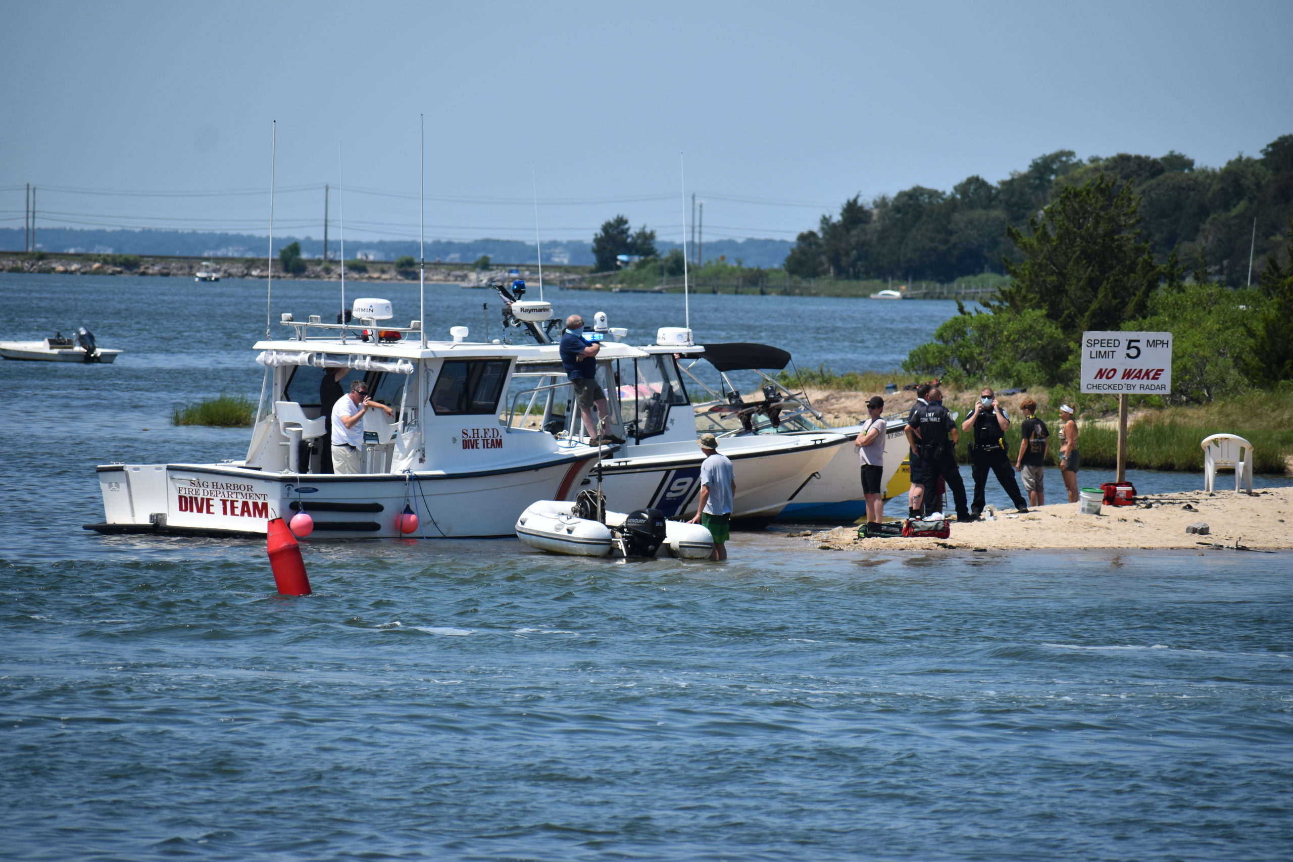 The Sag Harbor Fire Department dive team was on the scene. STEPHEN KOTZ