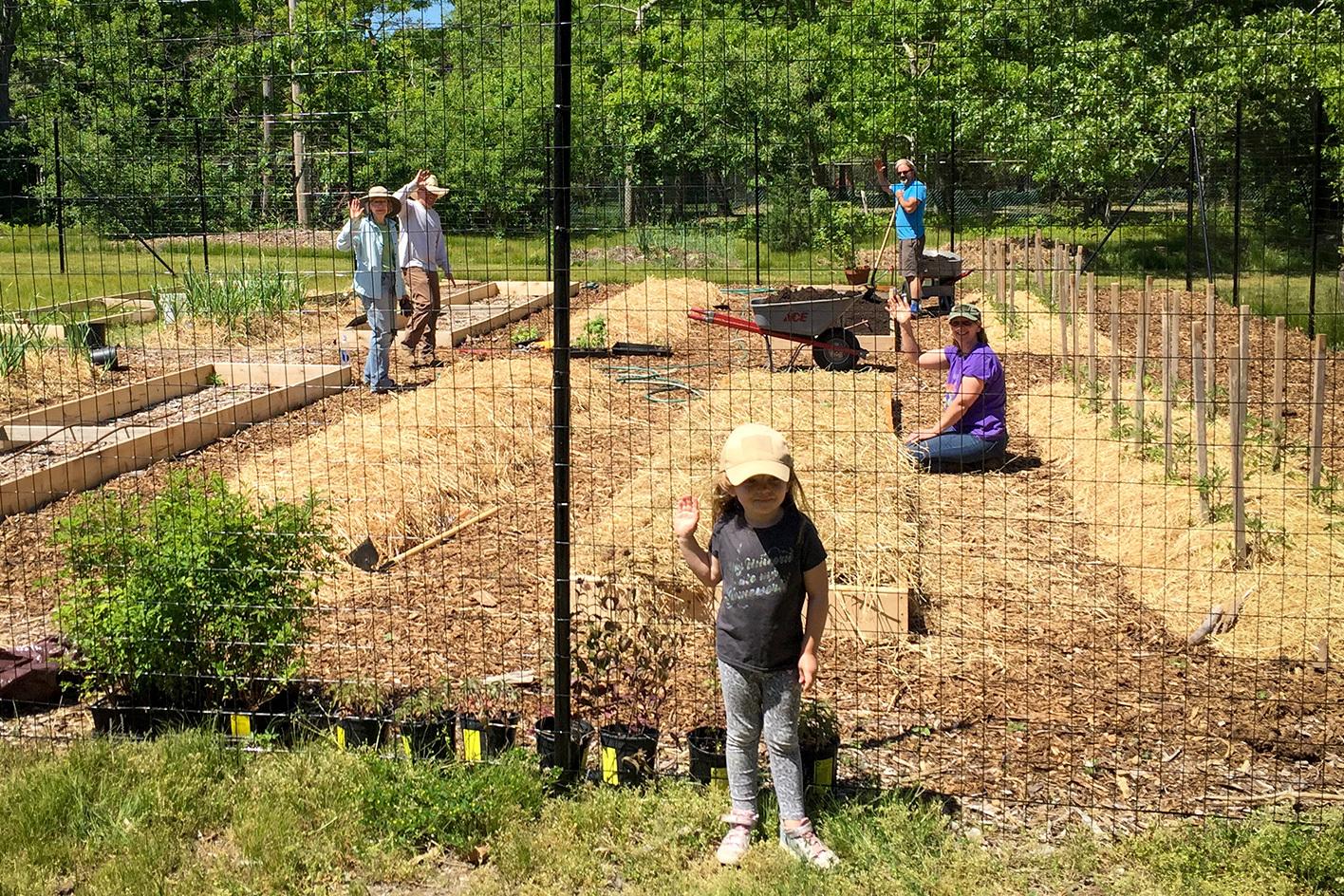 Good Ground Heritage Garden, May 27, 2019, volunteers working in the garden.