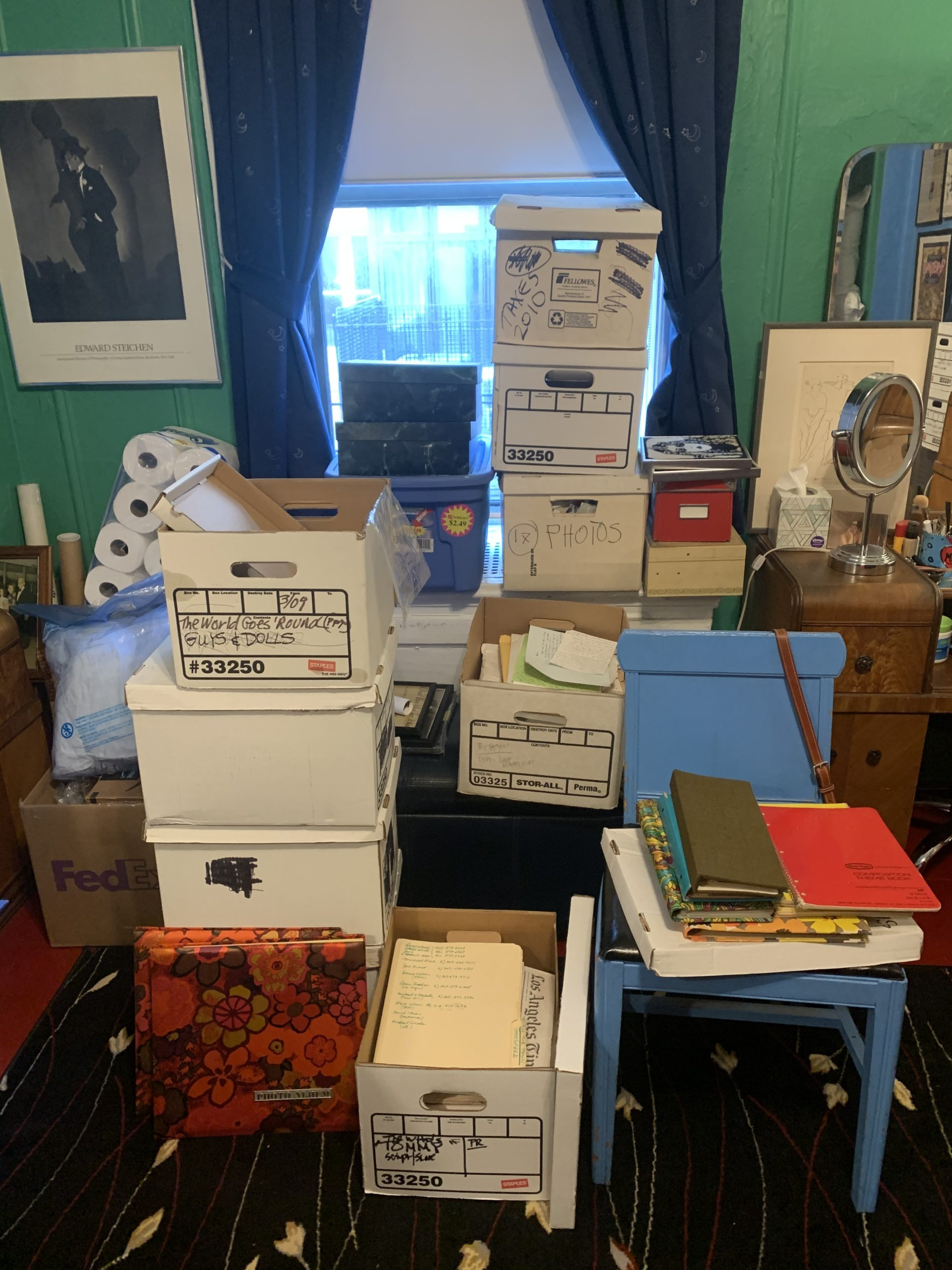 Marcia Milgrom Dodge's collection of boxes and ephemera from the shows she's directed at Bay Street Theater.